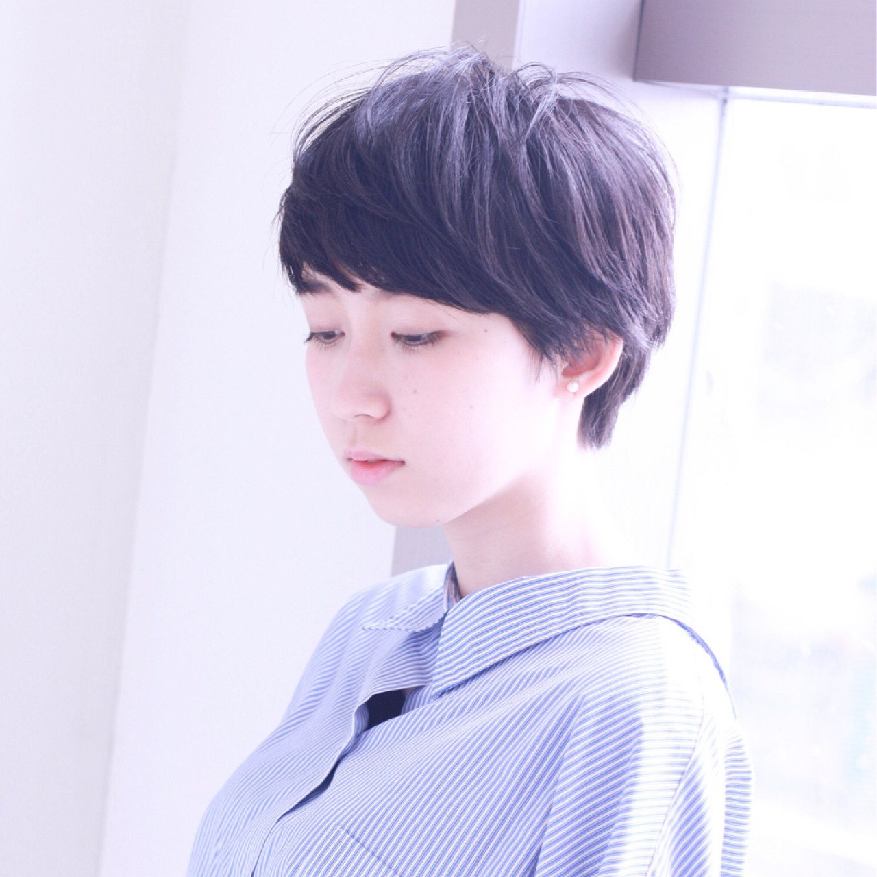 ショート 黒髪 ナチュラル ピュア ヘアスタイルや髪型の写真・画像