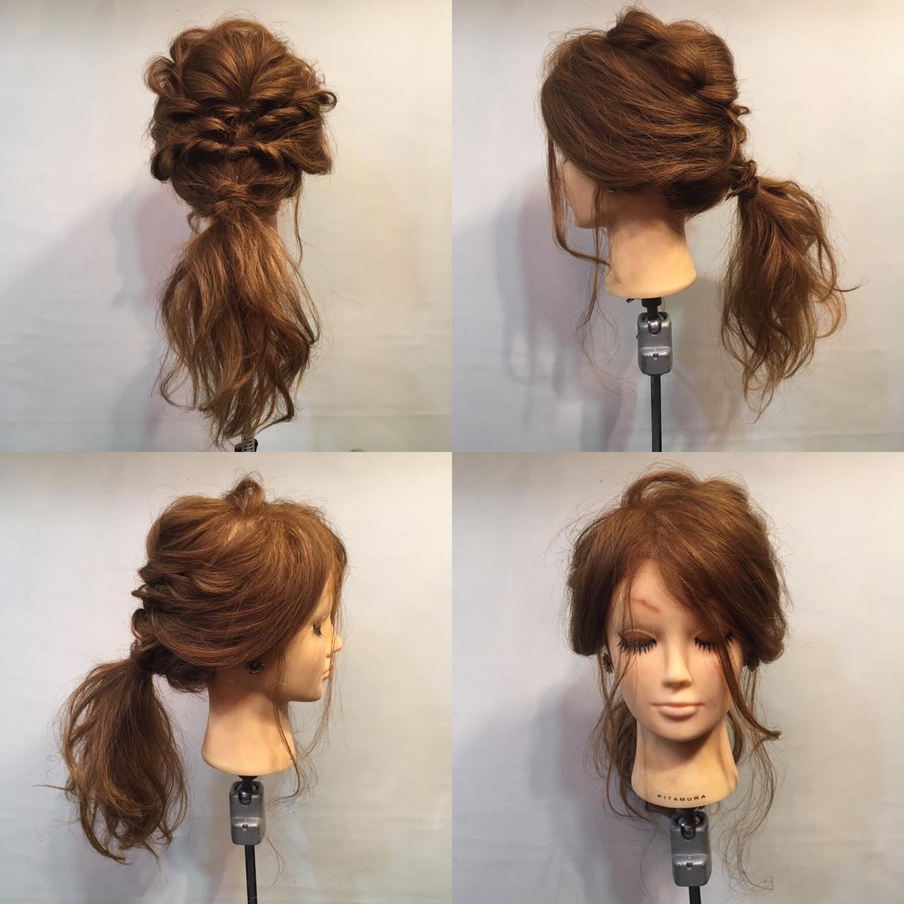 くるりんぱ セミロング ラフ パーティ ヘアスタイルや髪型の写真・画像