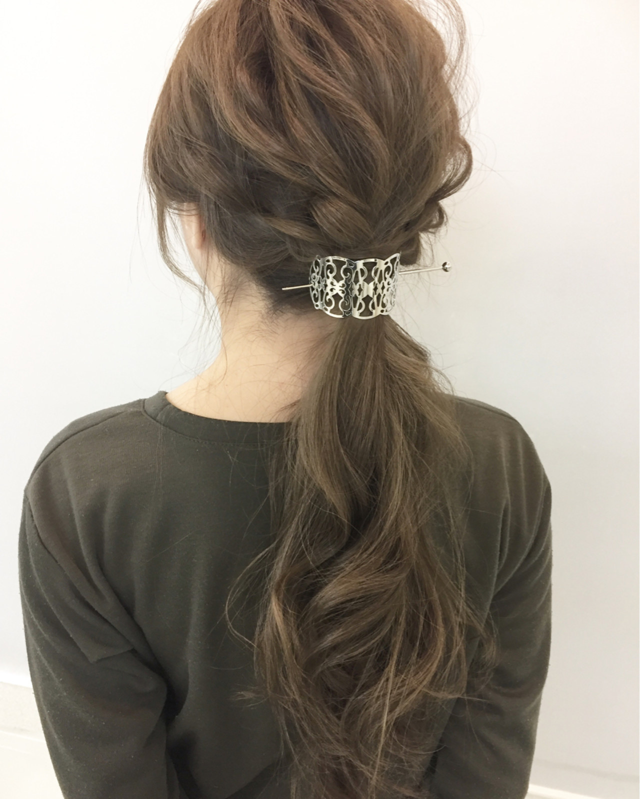 ポニーテール 編み込み ショート 大人女子 ヘアスタイルや髪型の写真・画像