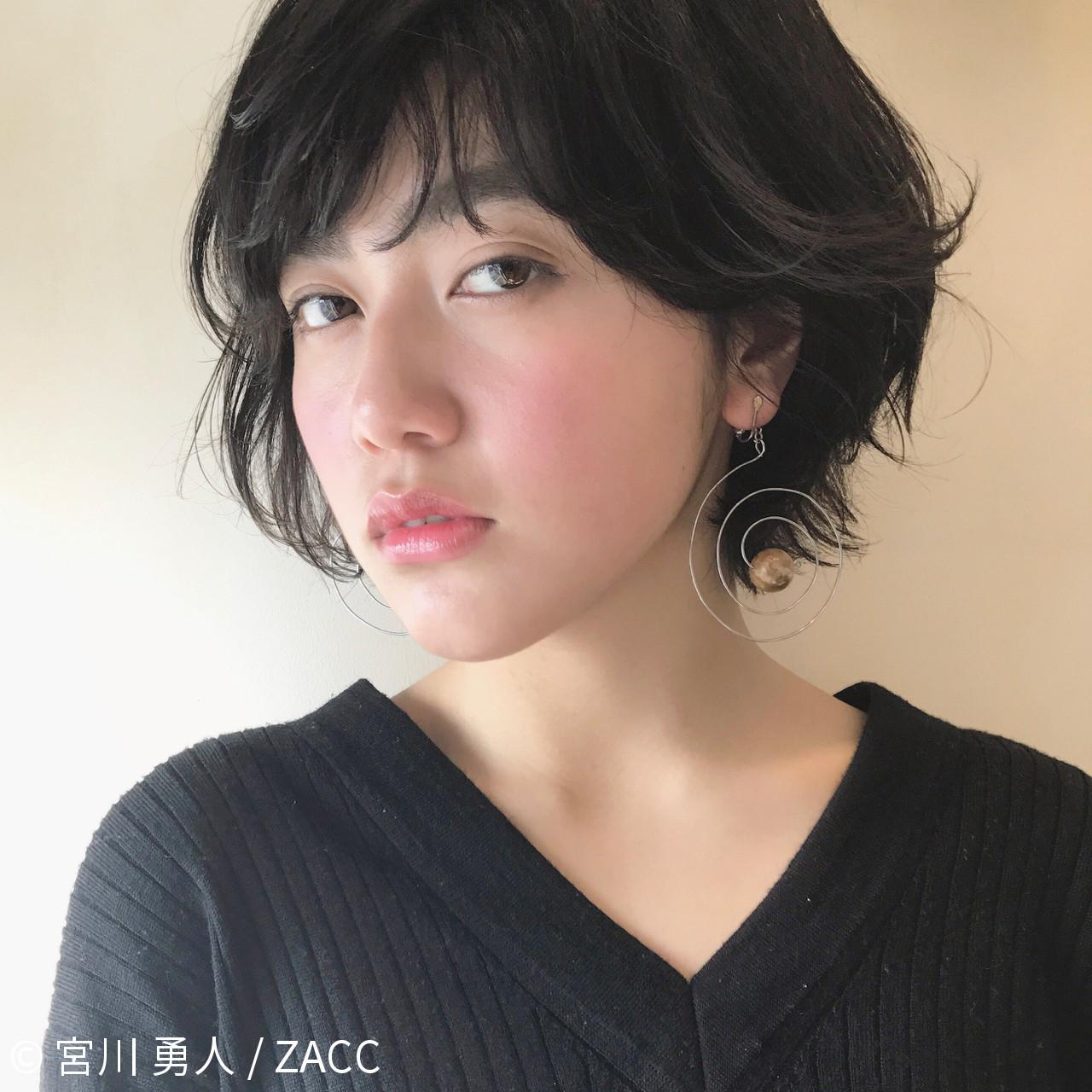 フリンジバング ショート 前髪あり パーマ ヘアスタイルや髪型の写真・画像