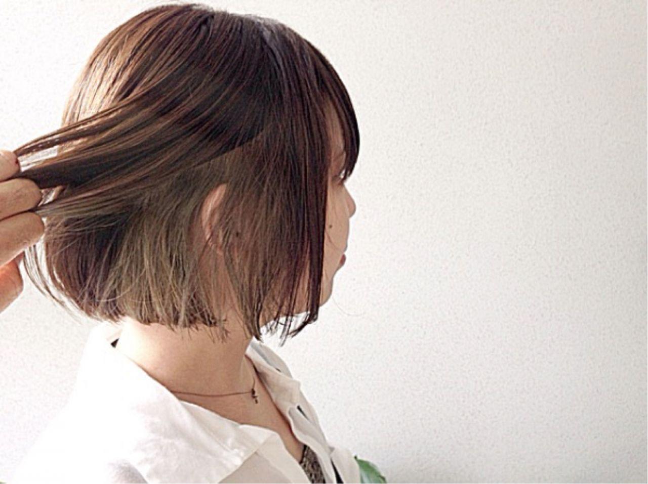ボブ ウェットヘア ナチュラル インナーカラー ヘアスタイルや髪型の写真・画像