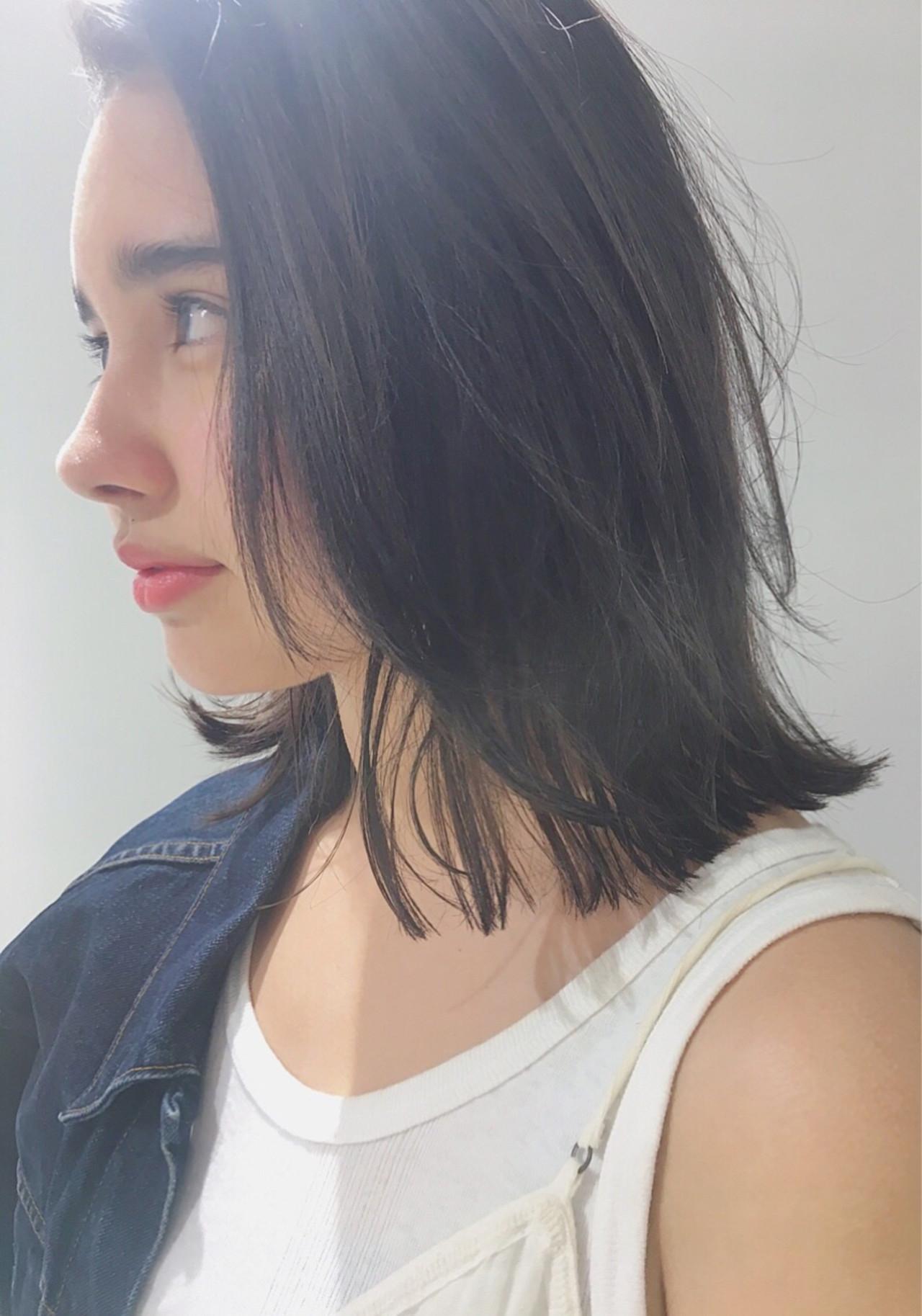 かっこいいけど色っぽい♡前髪なしの黒髪ミディアムヘアスタイル集 中島 潮里 / LOAVE  LOAVE omotesando