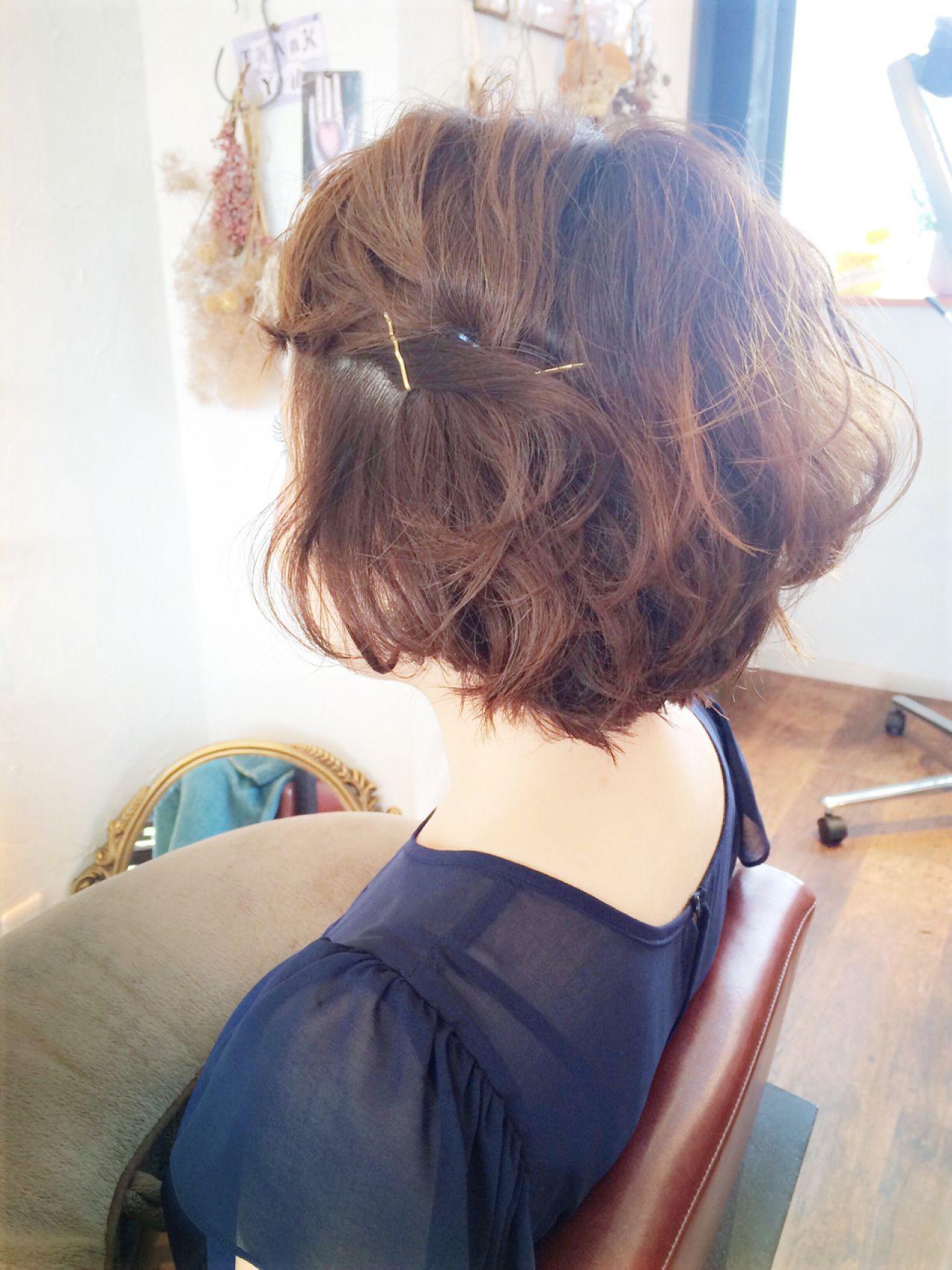 ヘアアレンジ コンサバ 結婚式 ショート ヘアスタイルや髪型の写真・画像