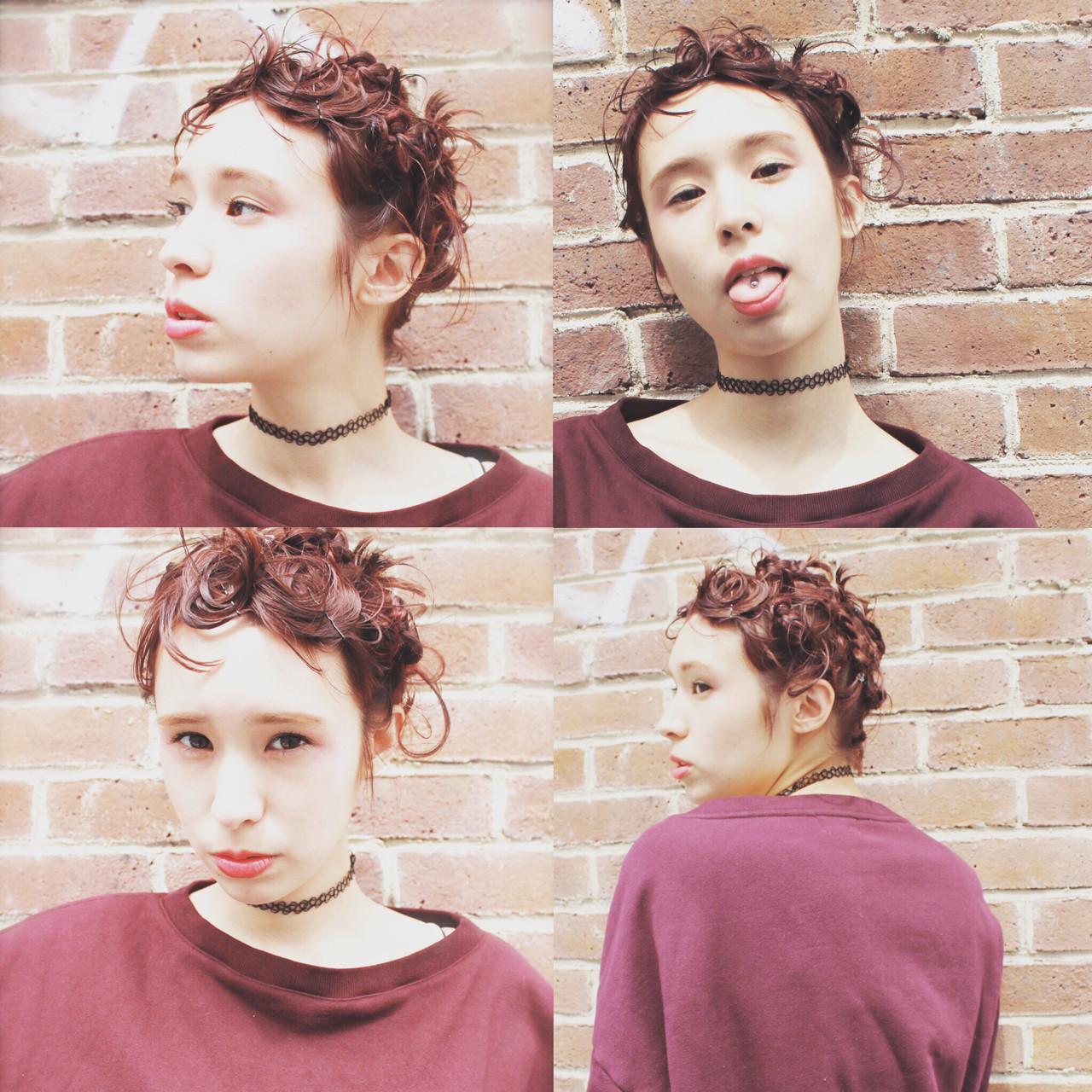 ショート ヘアアレンジ 外国人風 三つ編み ヘアスタイルや髪型の写真・画像