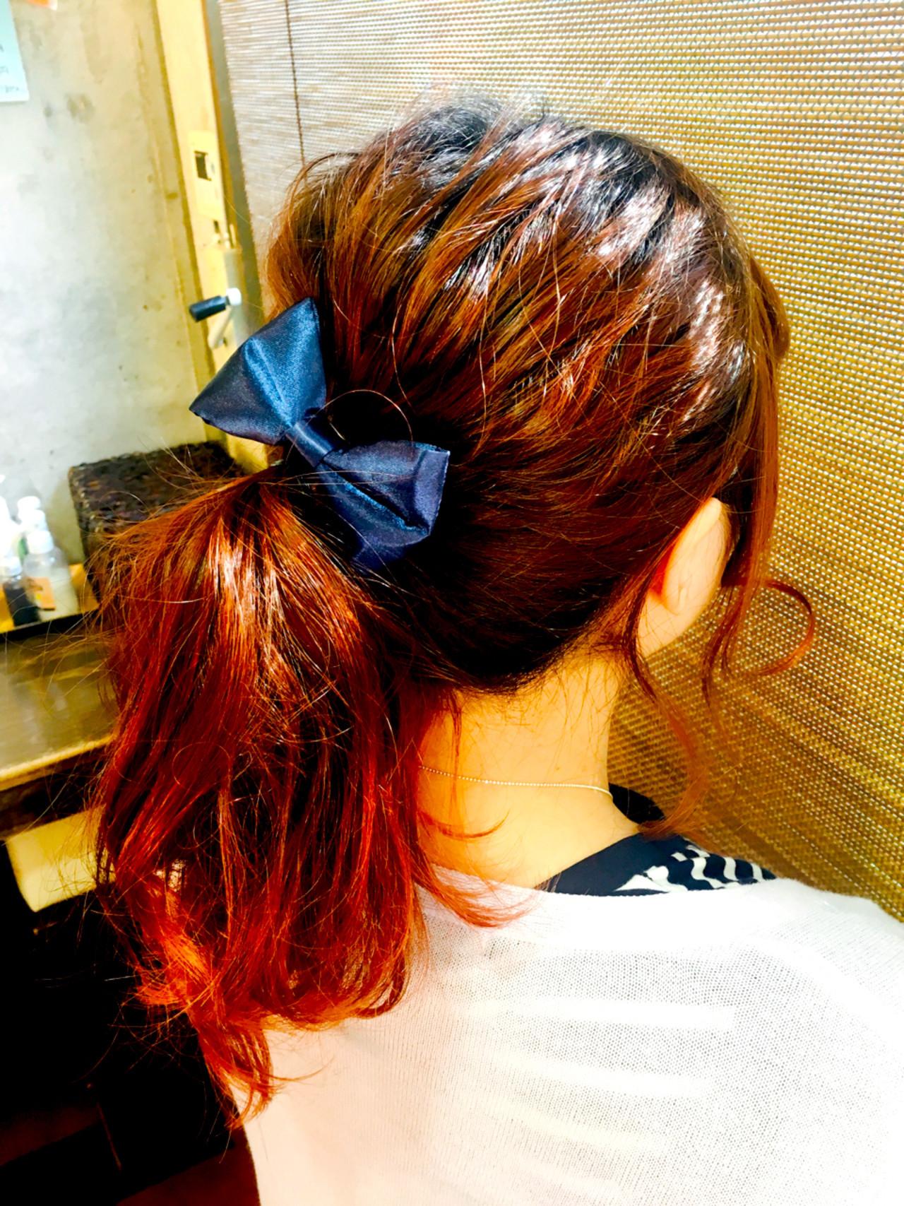 簡単ヘアアレンジ ヘアアレンジ ポニーテール セミロング ヘアスタイルや髪型の写真・画像
