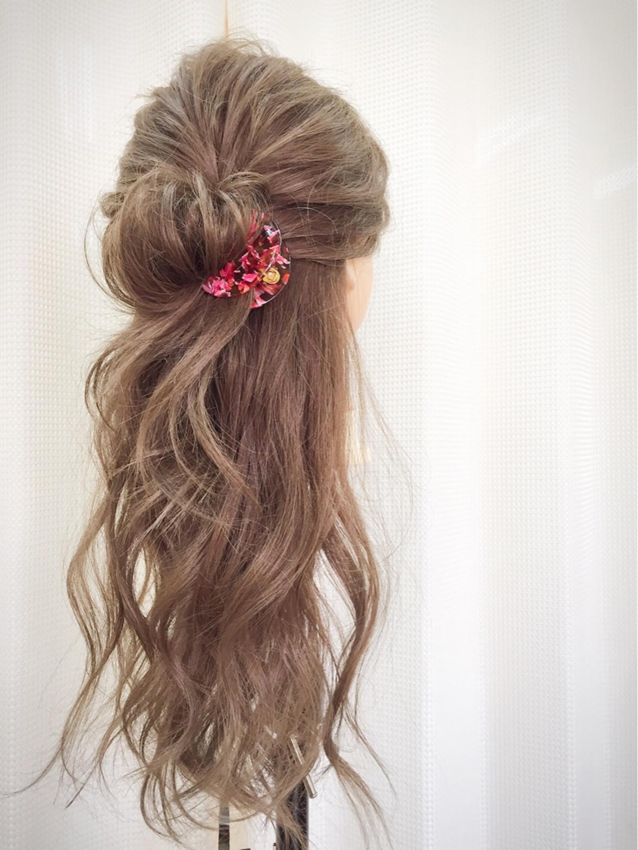 くせ毛風 ハーフアップ ショート 簡単ヘアアレンジ ヘアスタイルや髪型の写真・画像