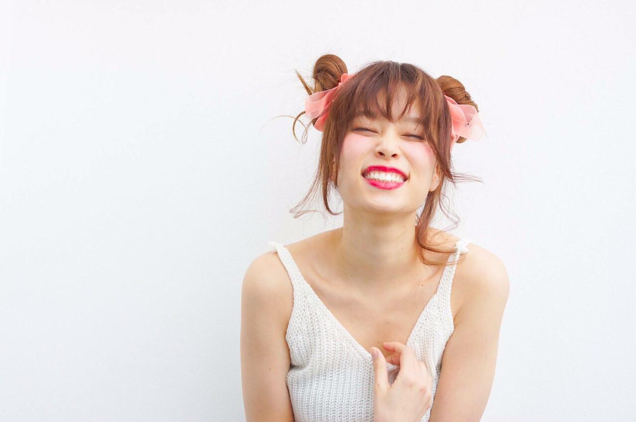ゆるふわ ヘアアレンジ お団子 セミロング ヘアスタイルや髪型の写真・画像