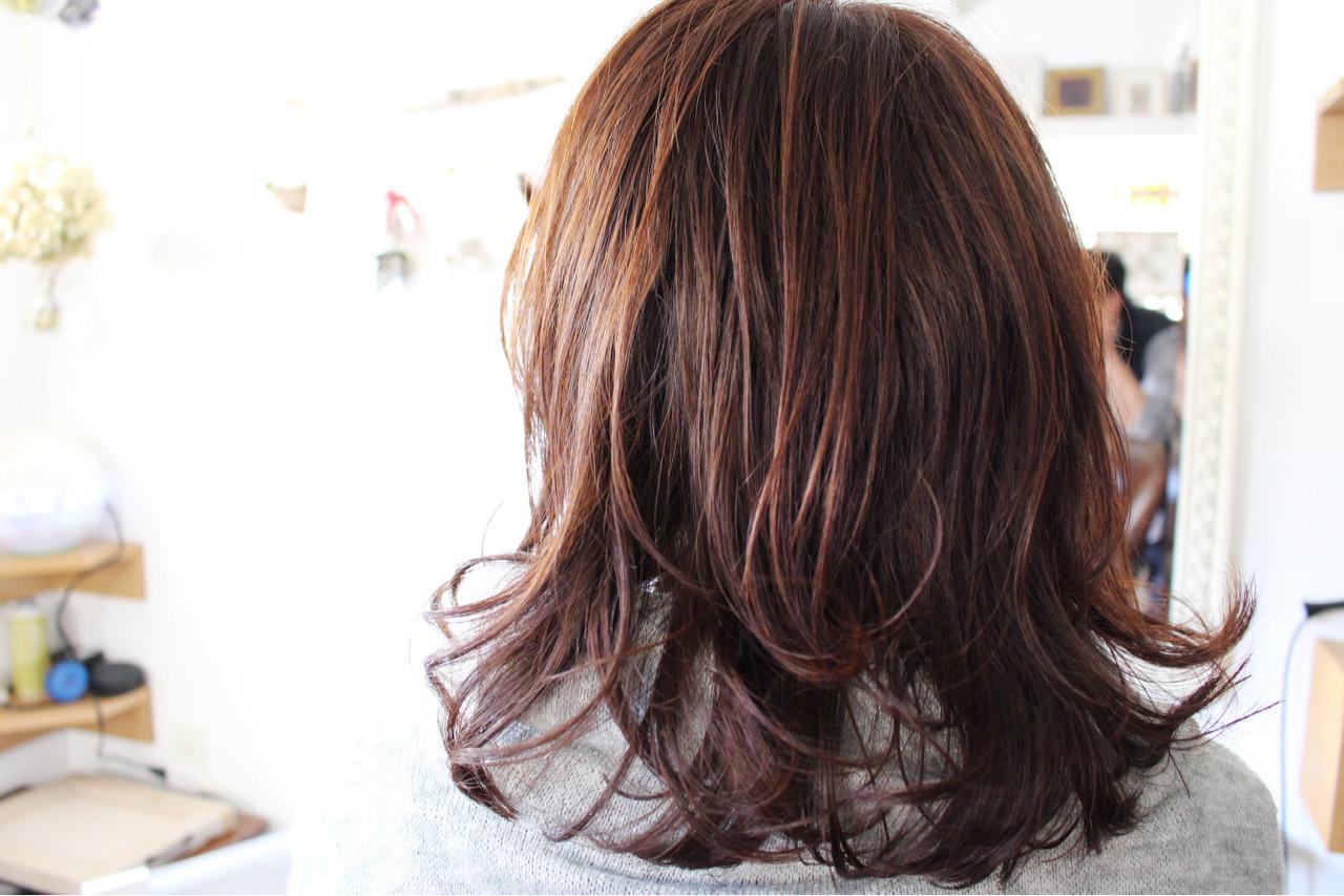 イエロー オレンジ ナチュラル セミロング ヘアスタイルや髪型の写真・画像