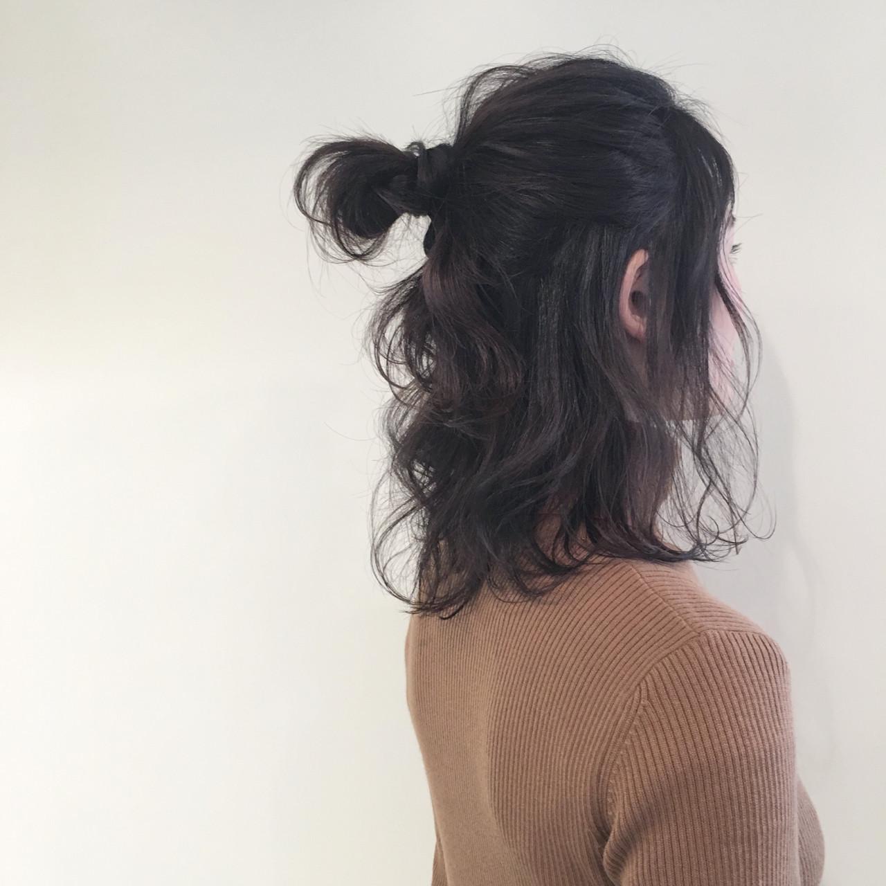 アッシュ ミディアム ナチュラル ヘアアレンジ ヘアスタイルや髪型の写真・画像