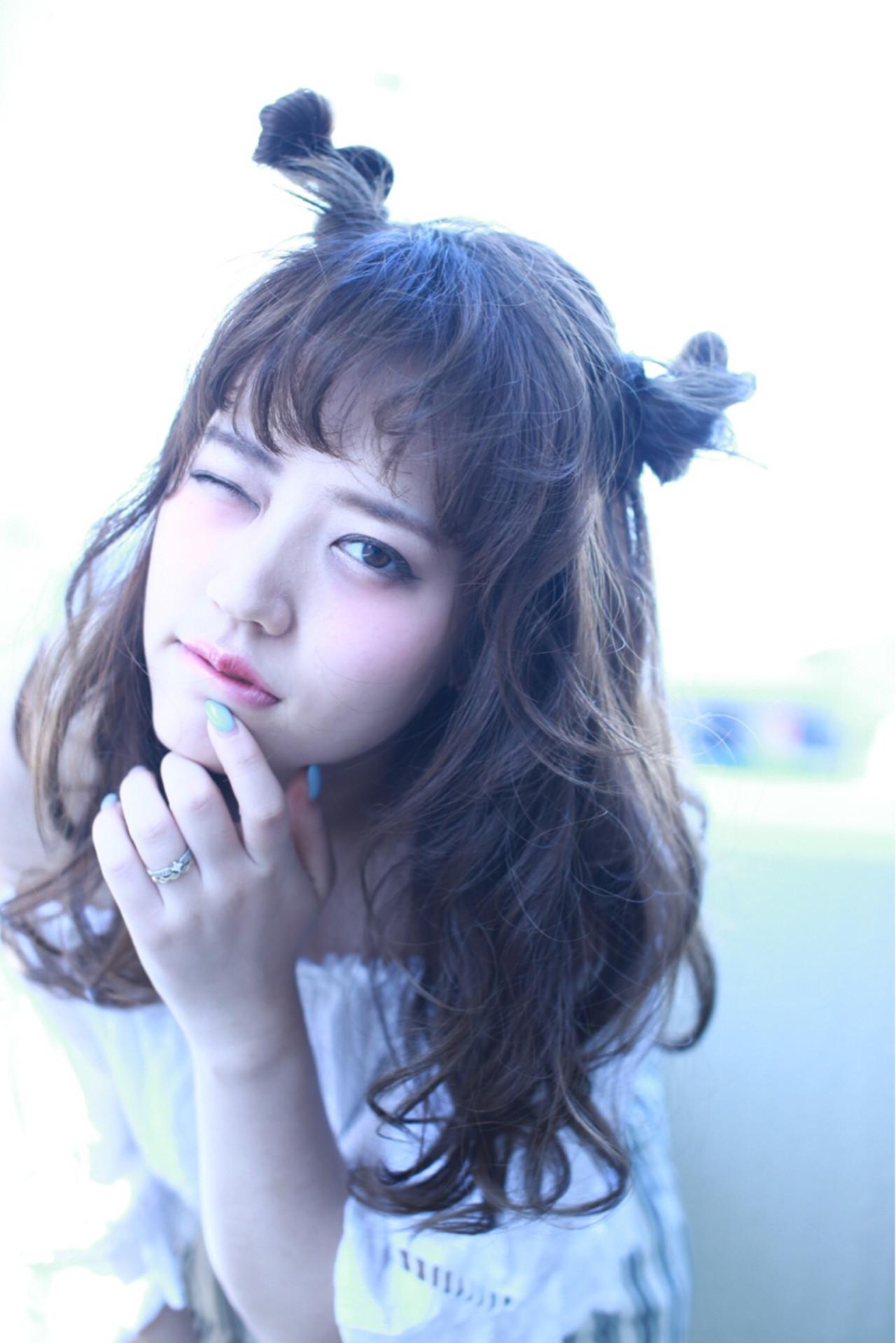 ガーリー お団子 夏 トリートメント ヘアスタイルや髪型の写真・画像