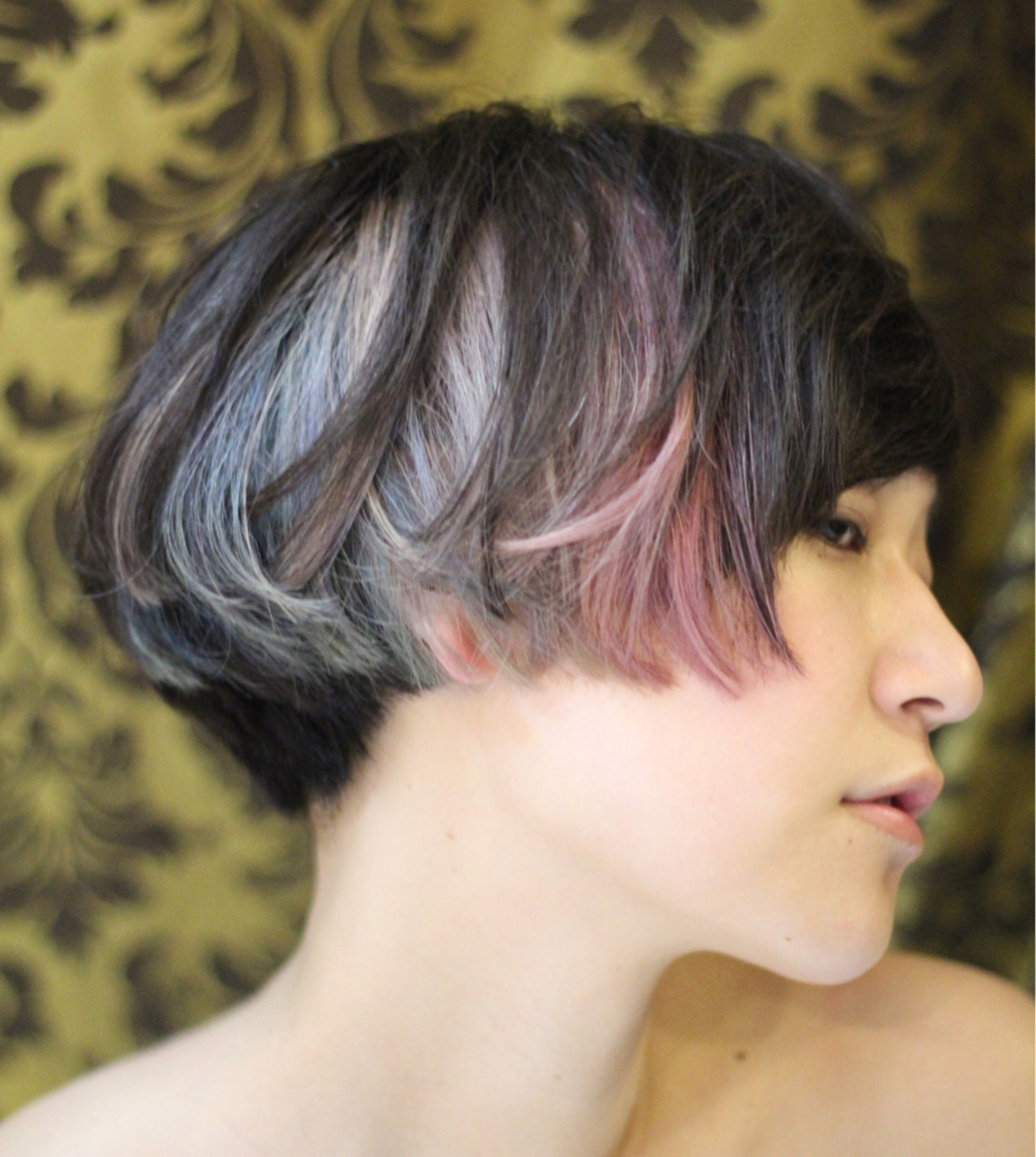 モード ボブ グラデーションカラー 色気 ヘアスタイルや髪型の写真・画像