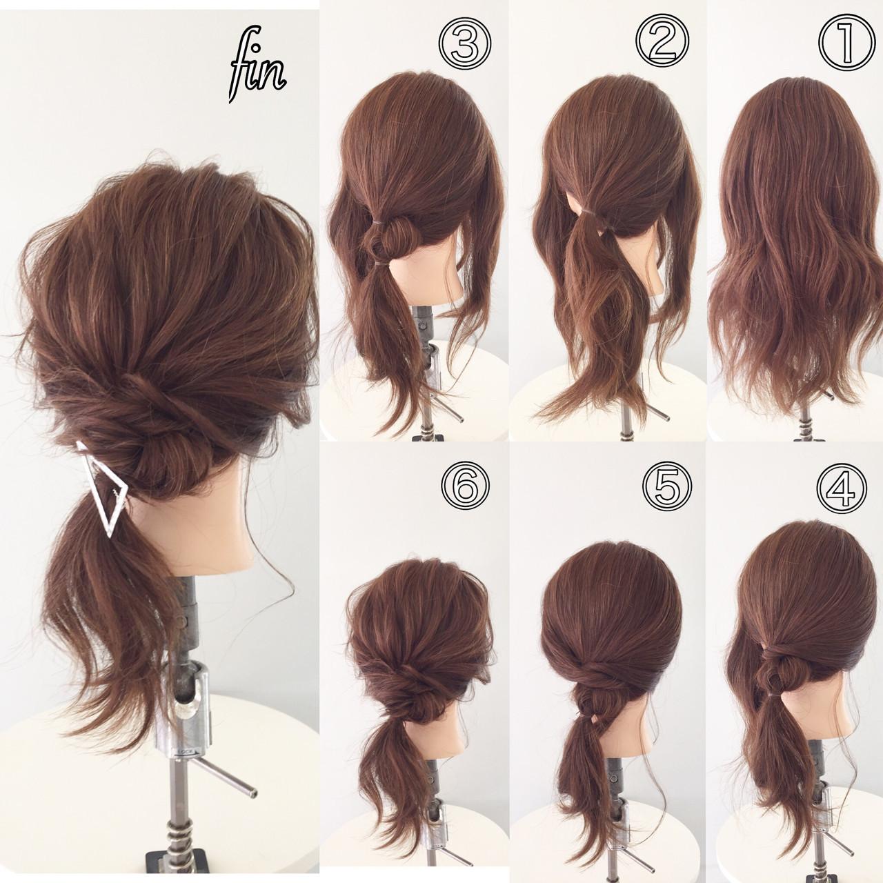 セミロング 簡単ヘアアレンジ ヘアアクセ ショート ヘアスタイルや髪型の写真・画像