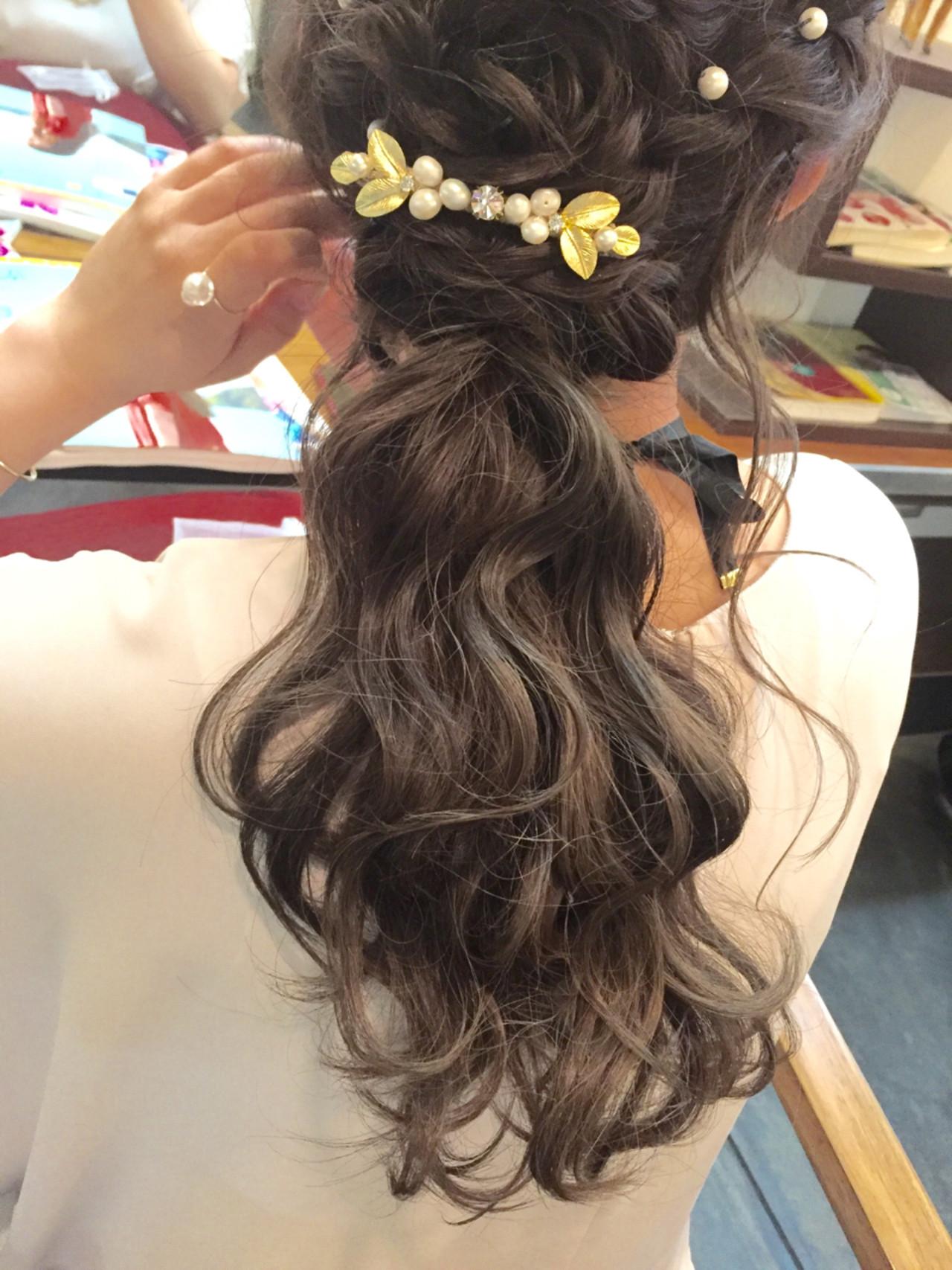 ヘアアレンジ パーティ 結婚式 編み込み ヘアスタイルや髪型の写真・画像