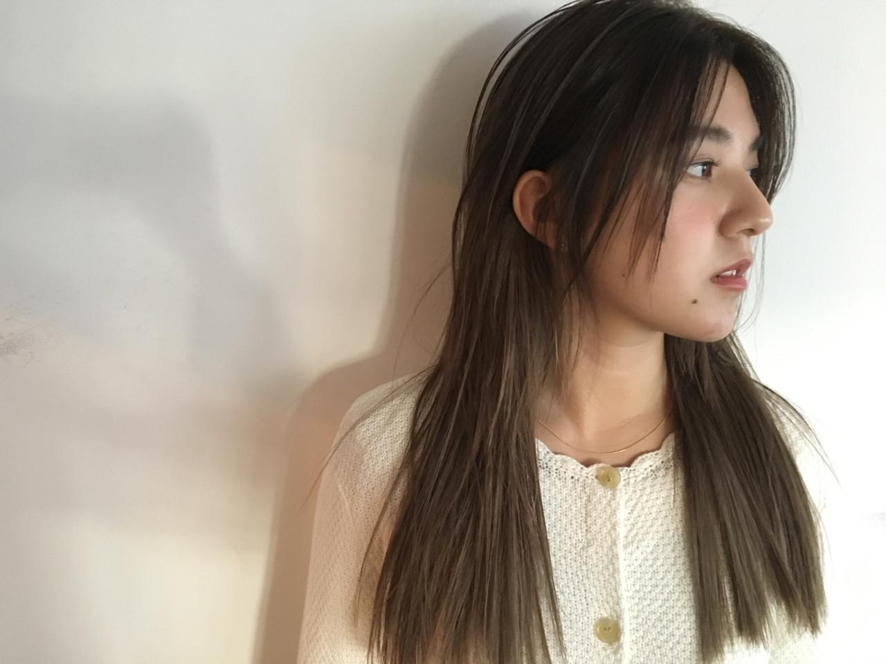 ロング ナチュラル 外国人風カラー ブラントカット ヘアスタイルや髪型の写真・画像