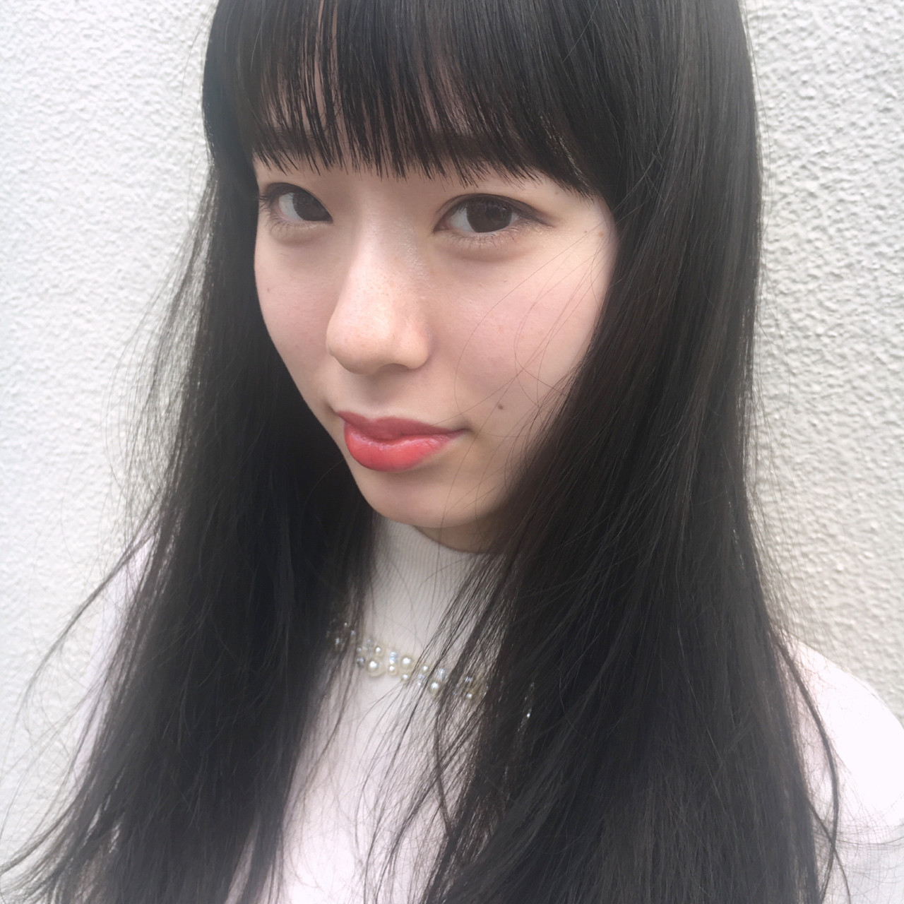 大人かわいい セミロング ナチュラル 前髪あり ヘアスタイルや髪型の写真・画像