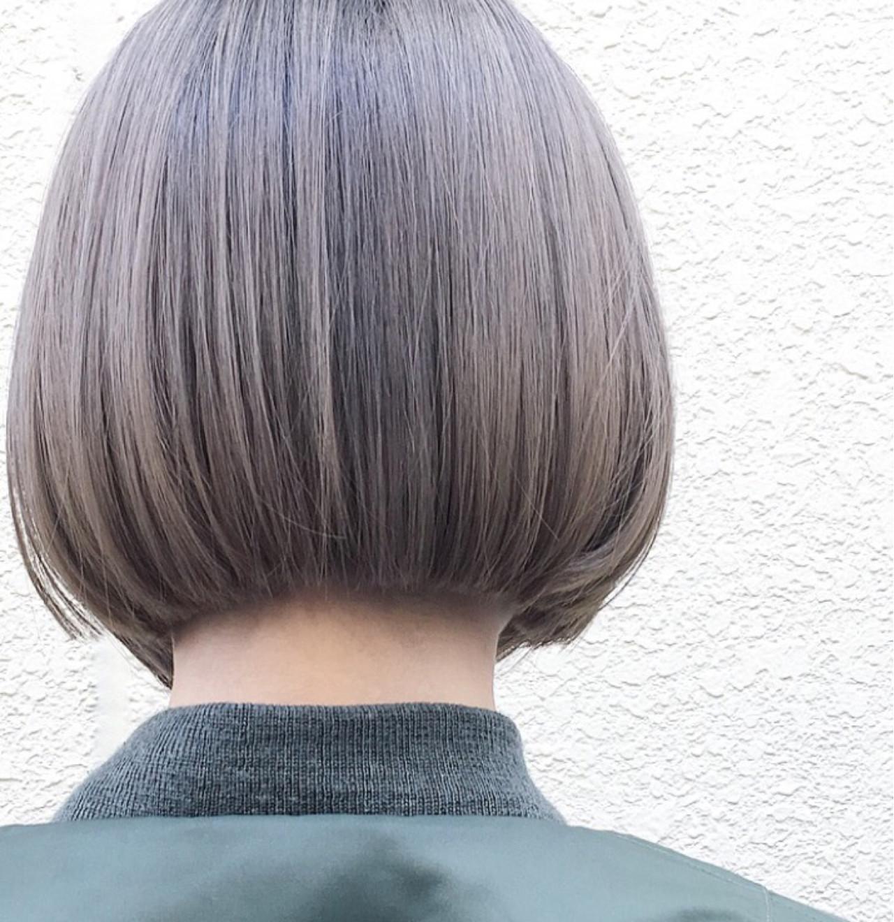 ダブルカラー アッシュ ワンレングス ボブ ヘアスタイルや髪型の写真・画像