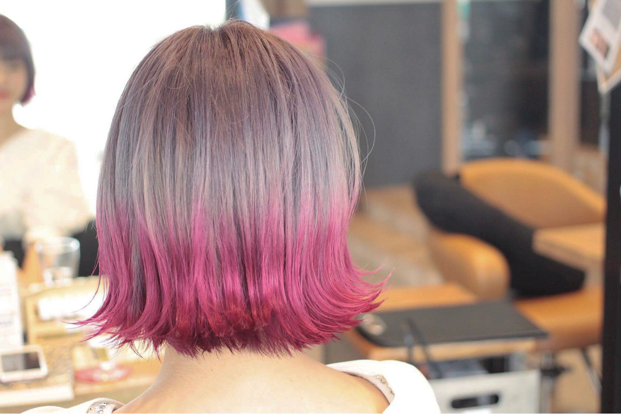 フェミニン ボブ カラーバター グラデーションカラー ヘアスタイルや髪型の写真・画像