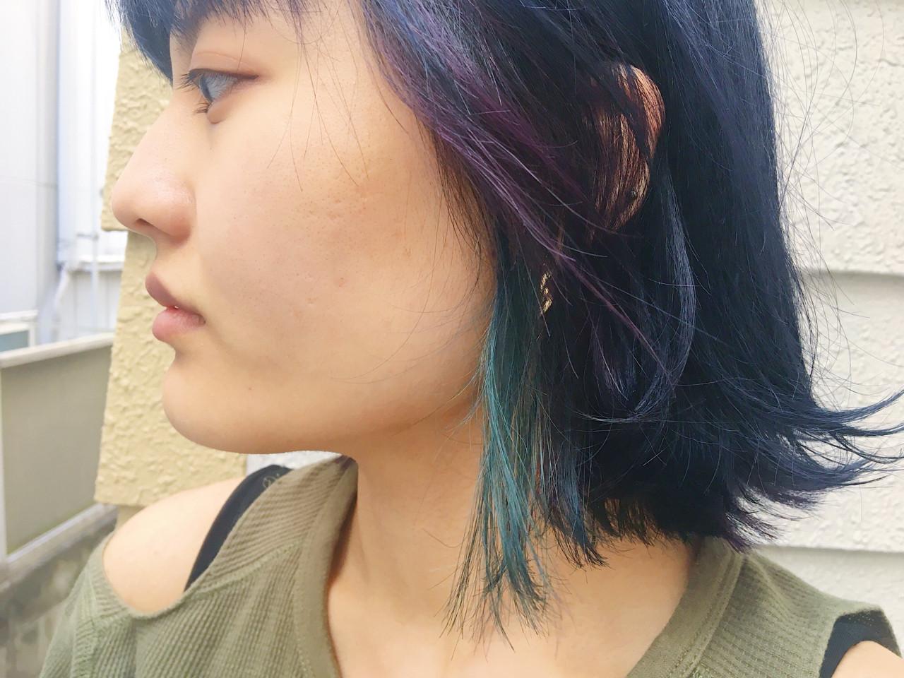インナーカラー ネイビー ブルー ボブ ヘアスタイルや髪型の写真・画像