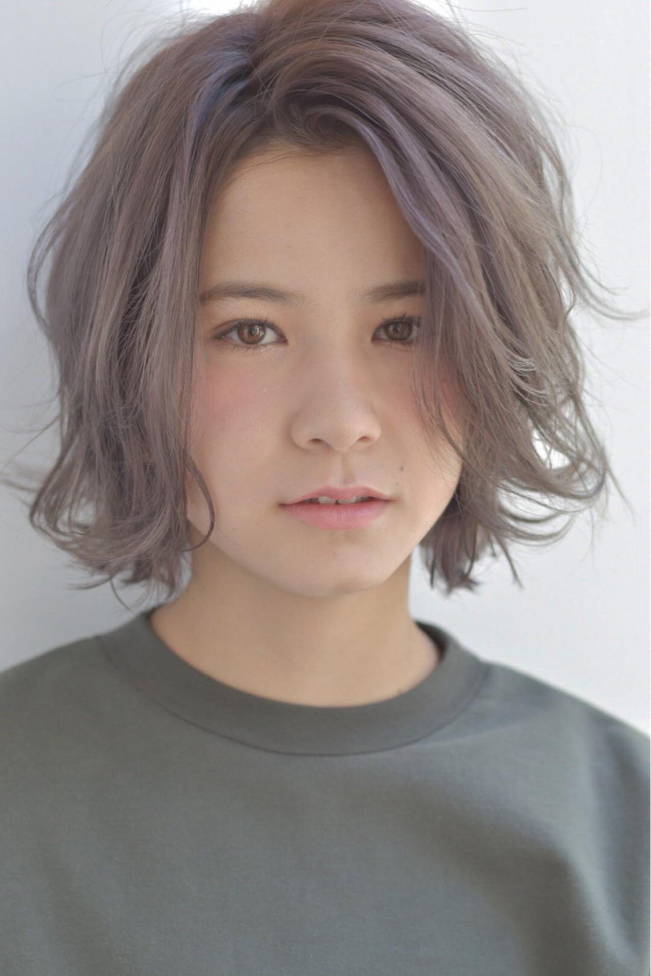ガーリー 外国人風 ボブ グレージュ ヘアスタイルや髪型の写真・画像