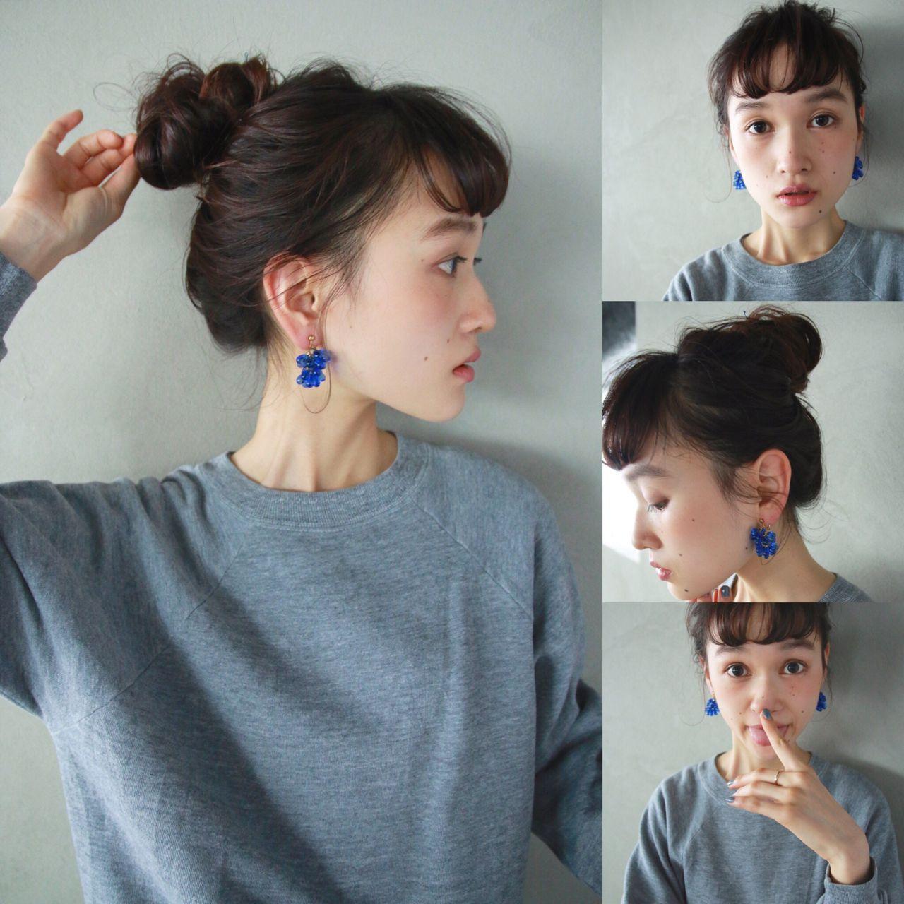 暗髪 ショートバング ロング 簡単ヘアアレンジ ヘアスタイルや髪型の写真・画像