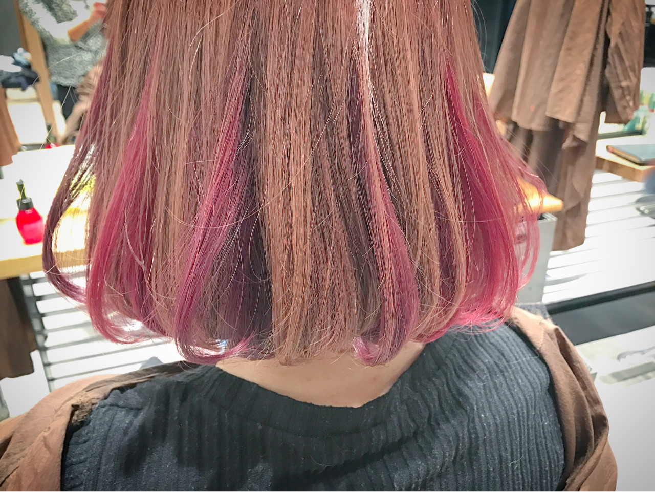 ガーリー ボブ カラーバター ニュアンス ヘアスタイルや髪型の写真・画像