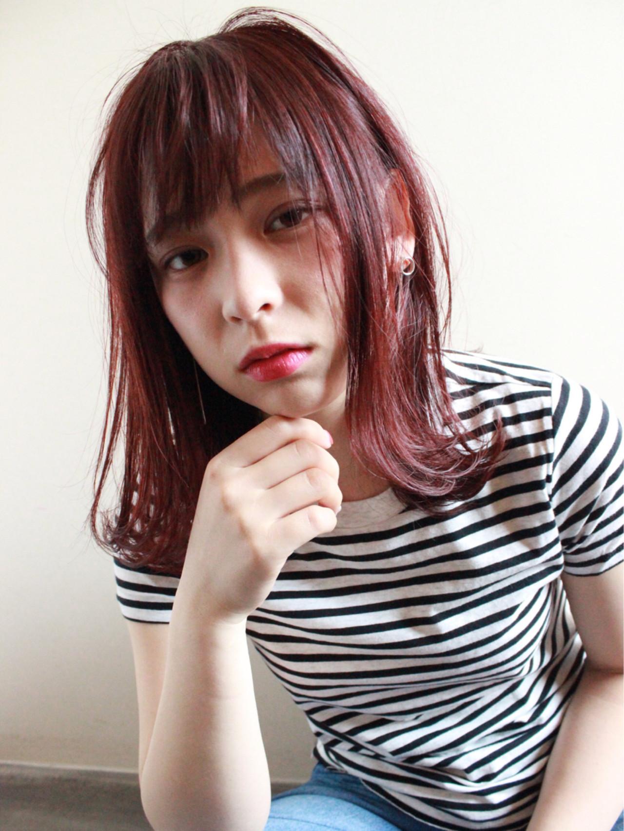 前髪あり ピンク ベリーピンク ボブ ヘアスタイルや髪型の写真・画像
