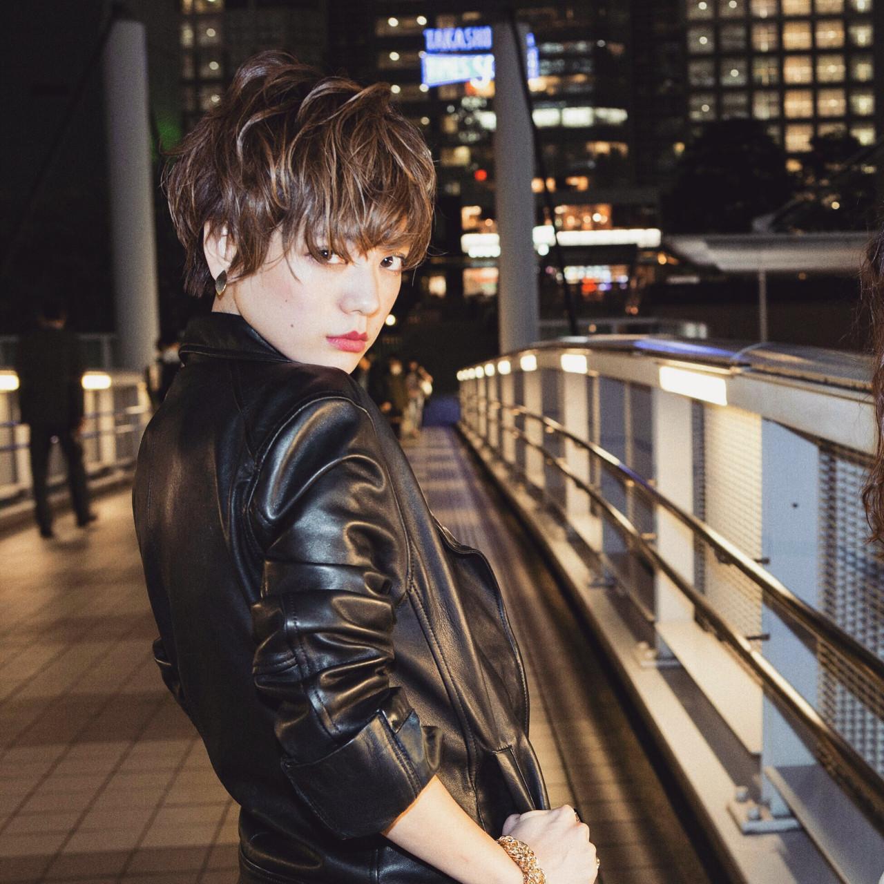 外国人風 モード ハイライト ショート ヘアスタイルや髪型の写真・画像
