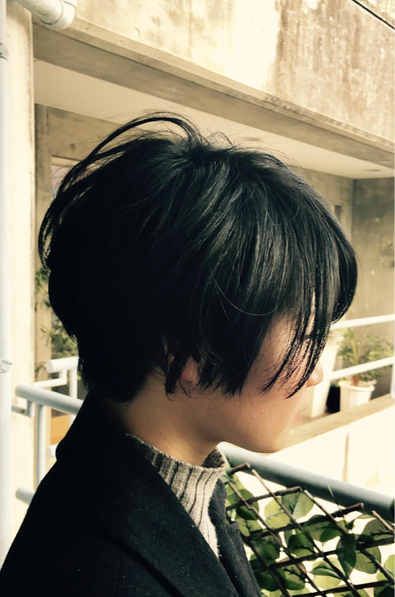 モード ショート ナチュラル 前髪あり ヘアスタイルや髪型の写真・画像