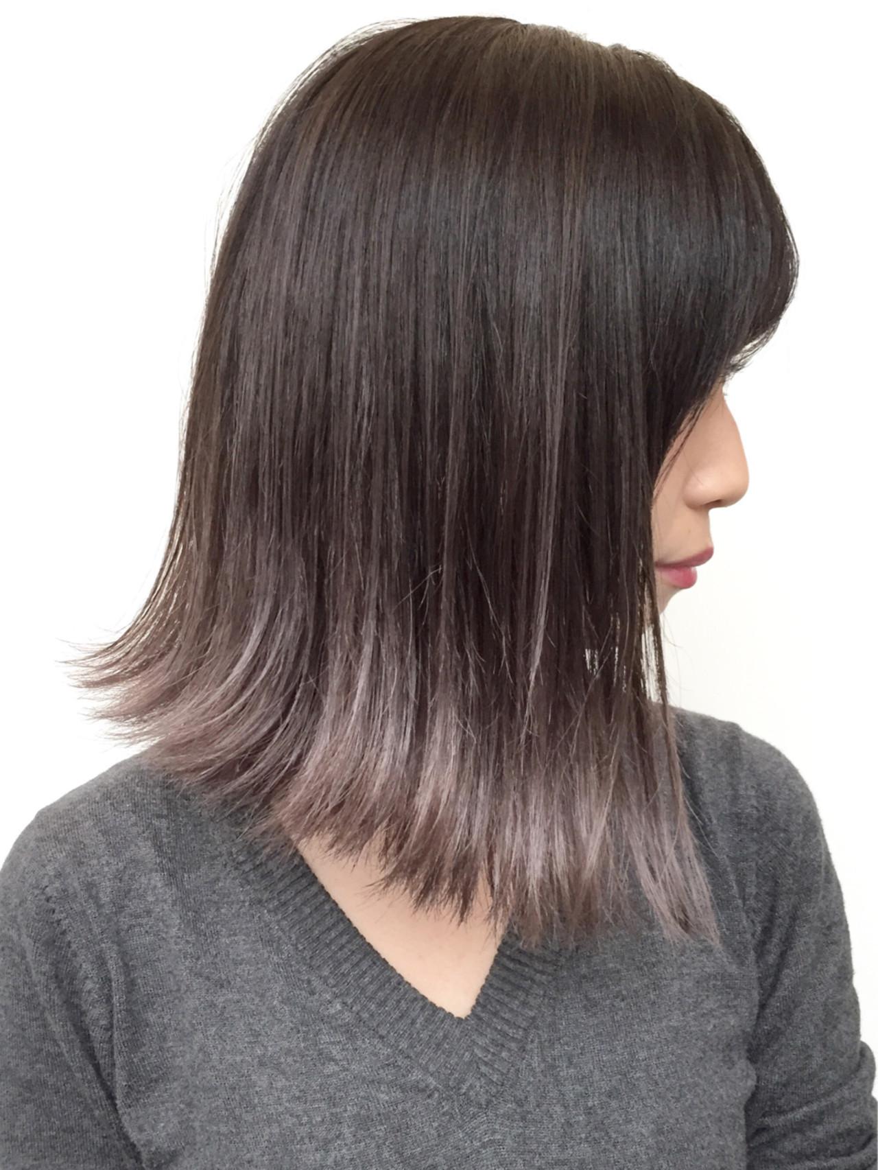 セクシー ミディアム 色気 ハイライト ヘアスタイルや髪型の写真・画像