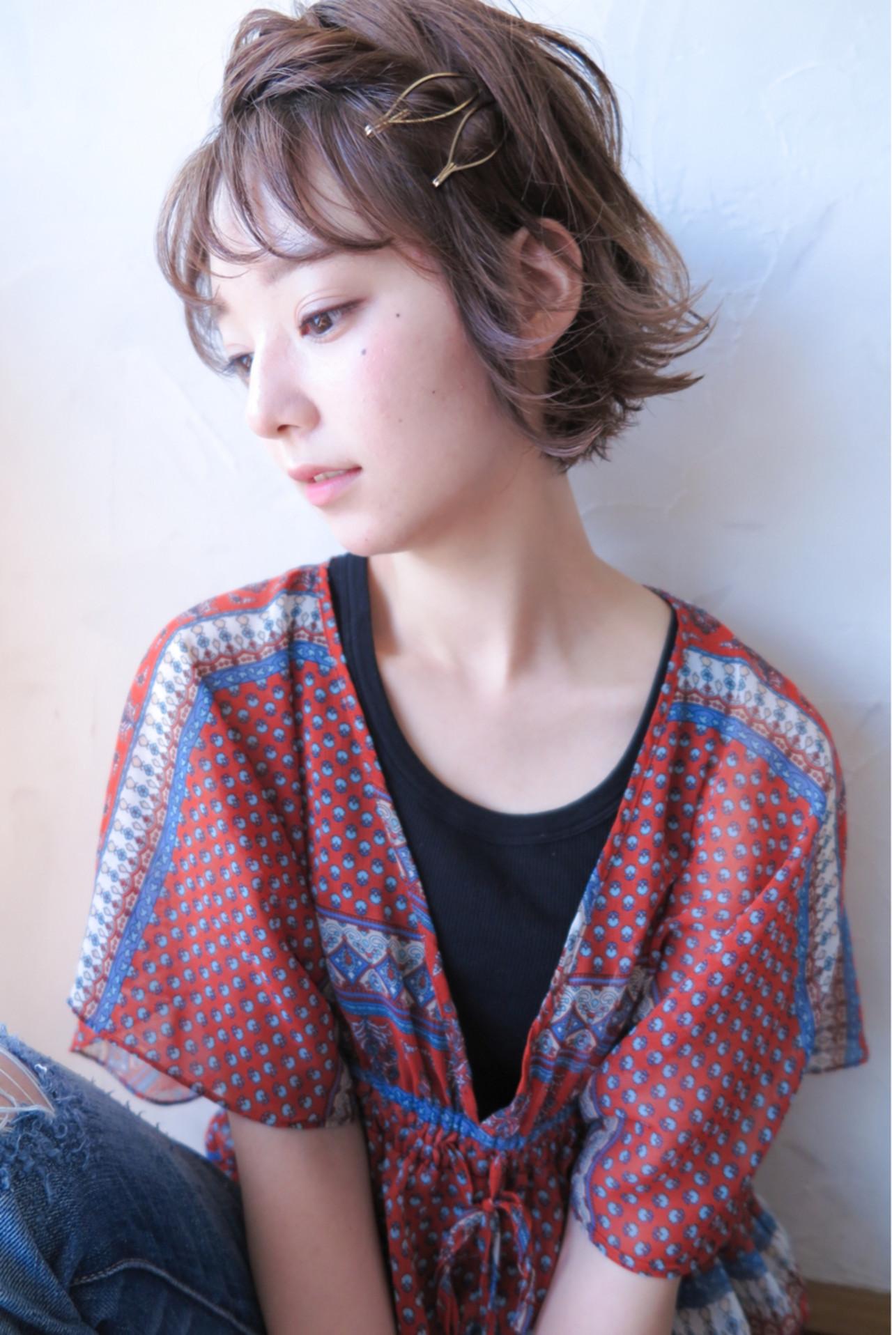 簡単ヘアアレンジ ショート ピュア ショートボブ ヘアスタイルや髪型の写真・画像