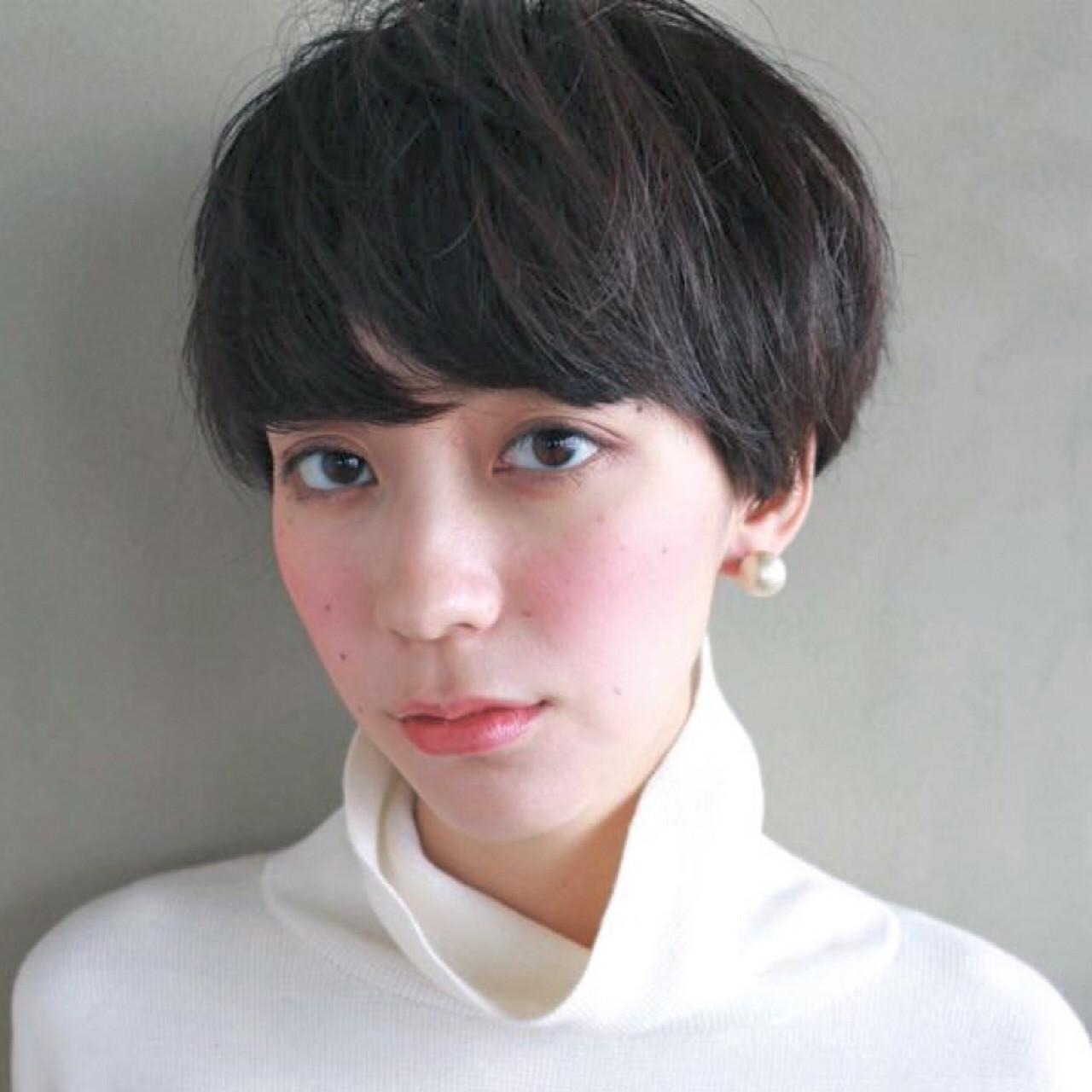 前髪パーマ マッシュ ショート 大人かわいい ヘアスタイルや髪型の写真・画像