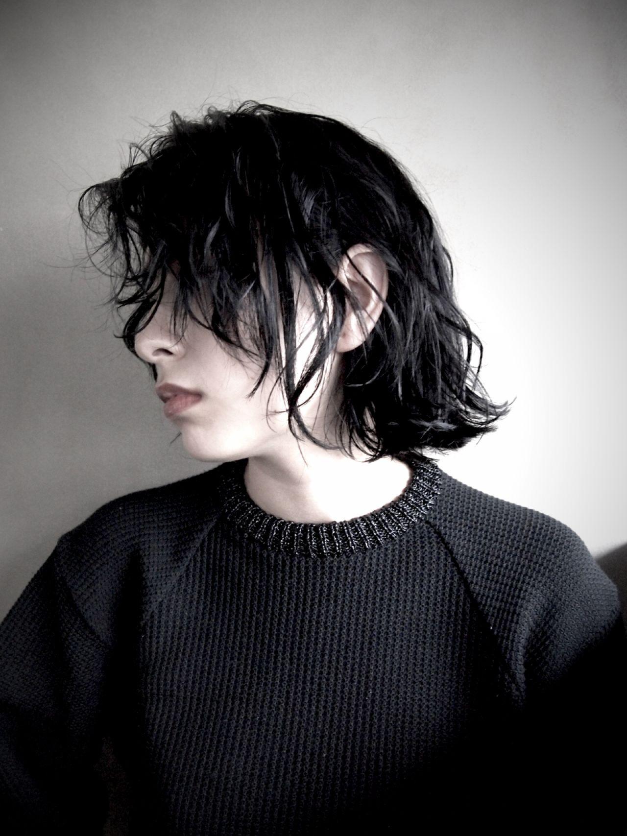 黒髪 モード ボブ ウェットヘア ヘアスタイルや髪型の写真・画像