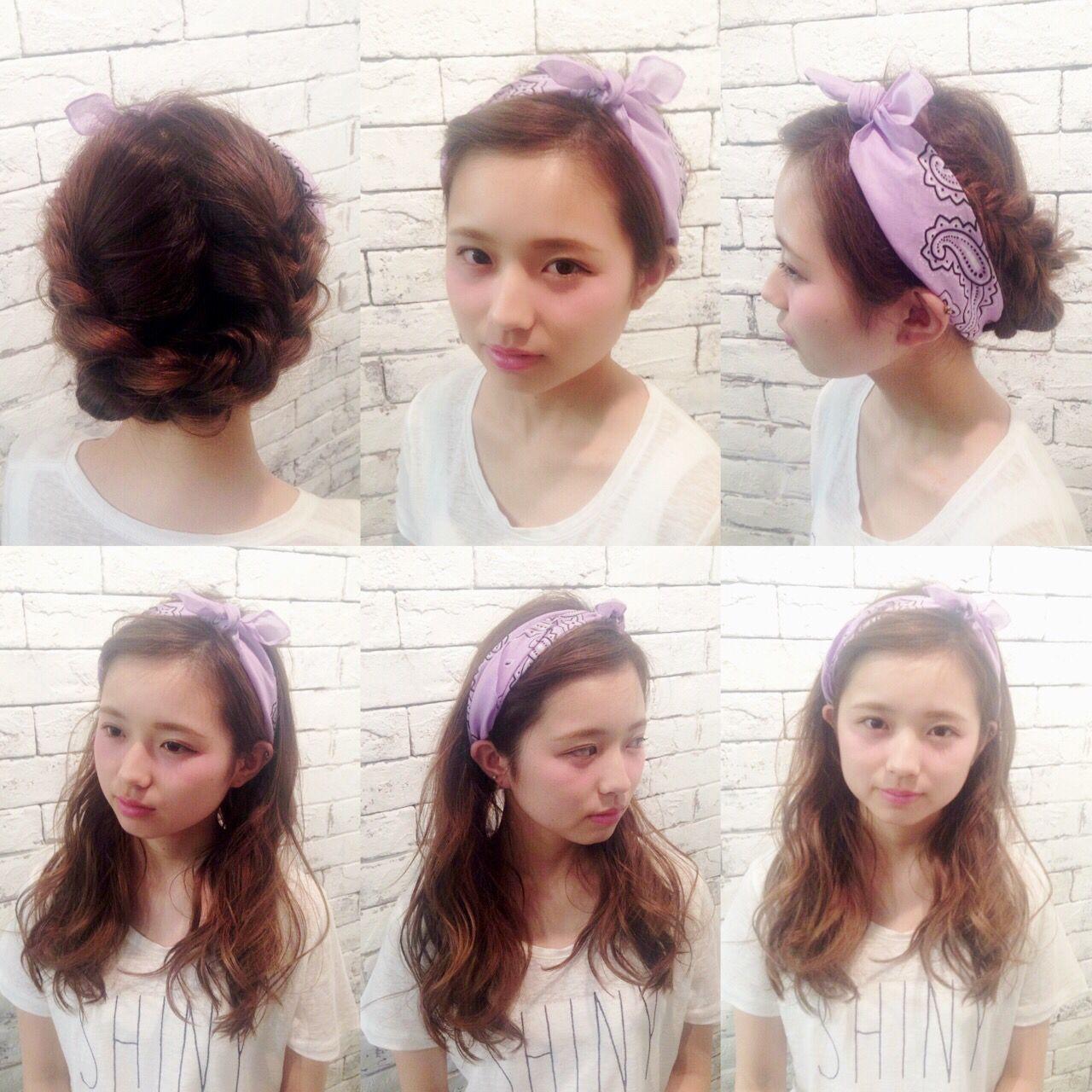 ガーリー モテ髪 バンダナ ヘアアレンジ ヘアスタイルや髪型の写真・画像