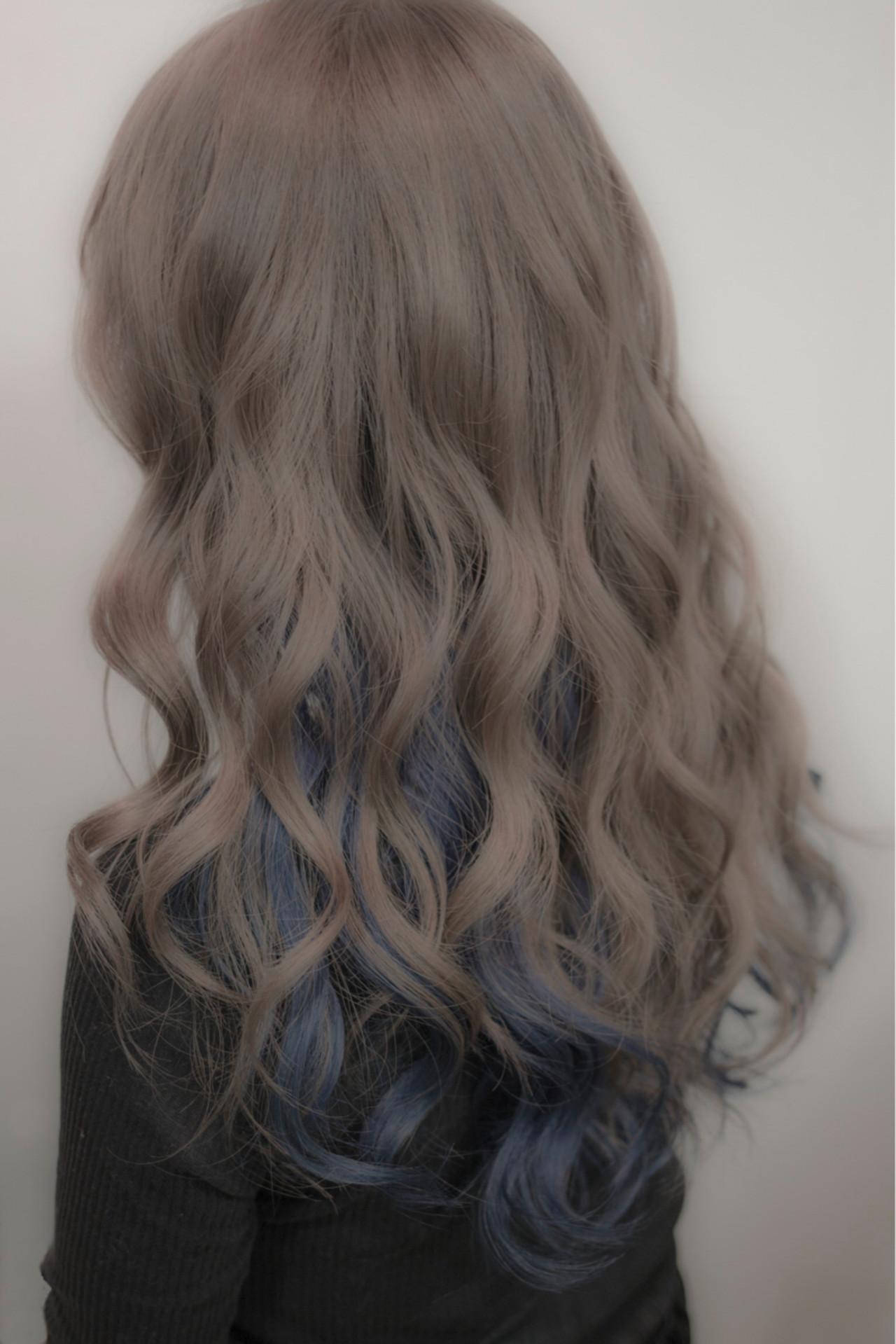 ハイトーン セミロング 外国人風カラー インナーカラー ヘアスタイルや髪型の写真・画像