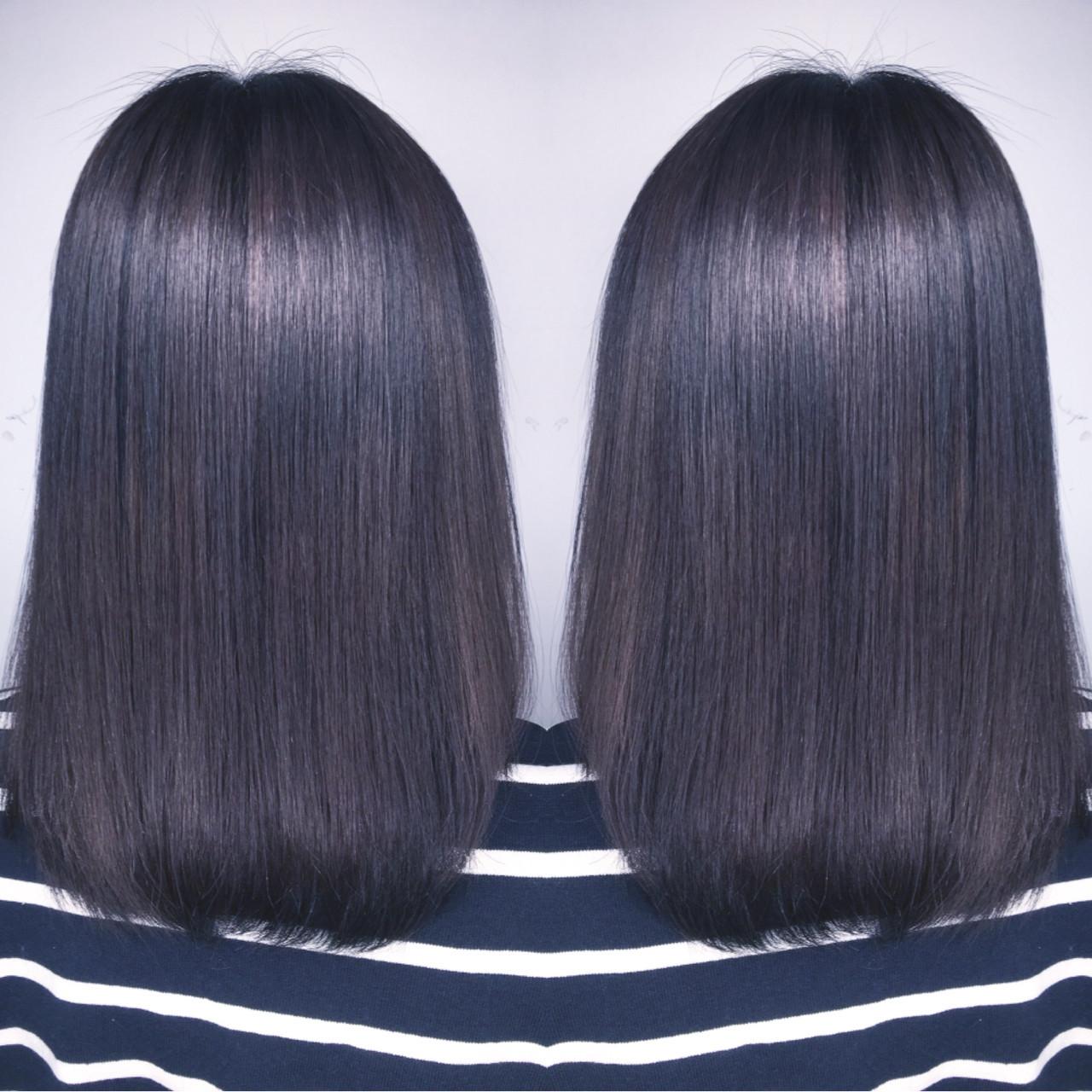 アッシュ ブルージュ ハイライト ミディアム ヘアスタイルや髪型の写真・画像
