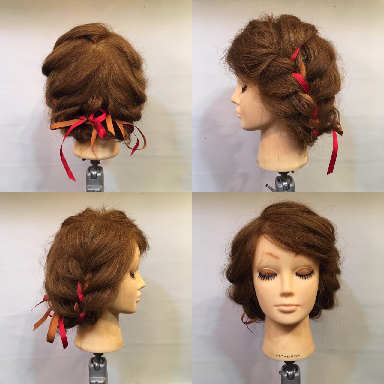 三つ編み 編み込み 謝恩会 セミロング ヘアスタイルや髪型の写真・画像