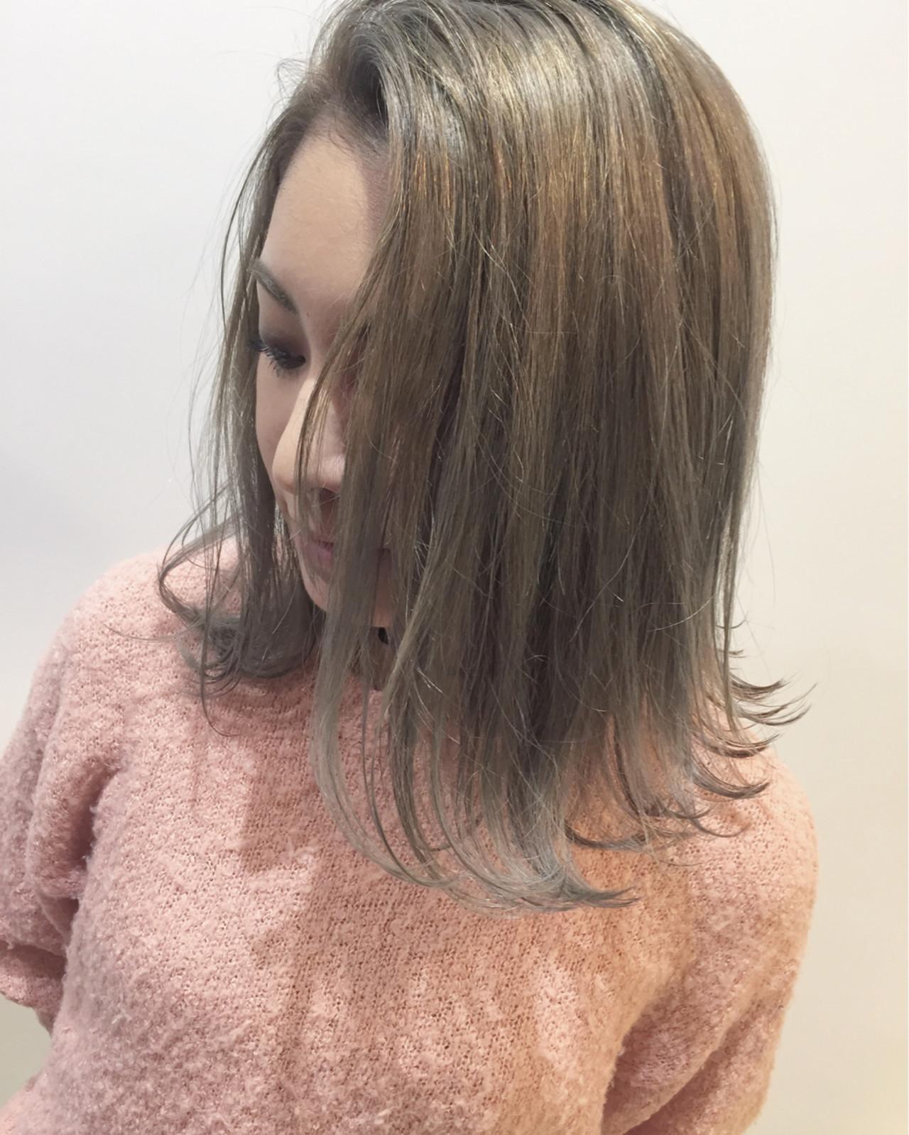 ボブ ミディアム 色気 グラデーションカラー ヘアスタイルや髪型の写真・画像