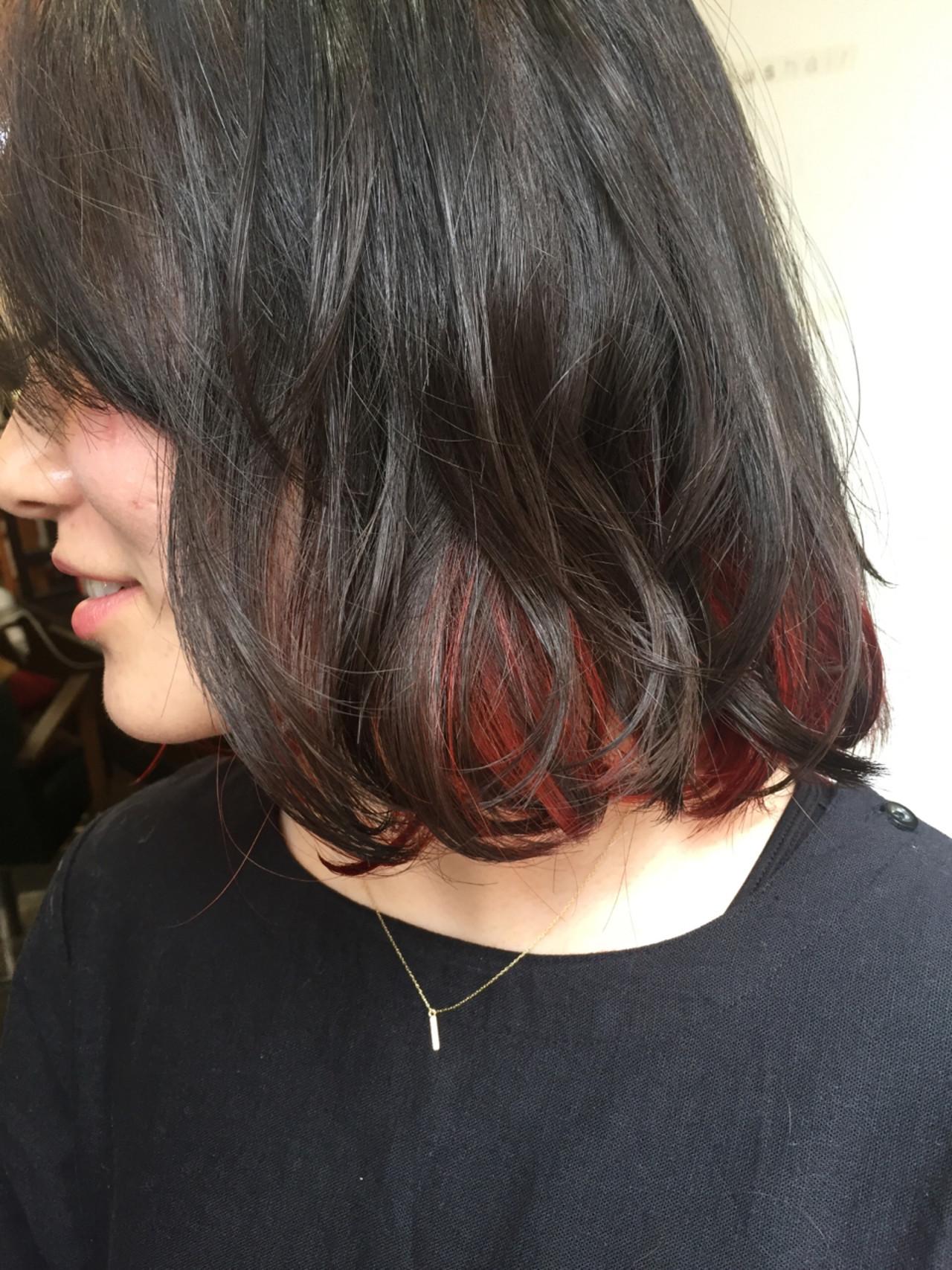 ボブ 黒髪 レッド ガーリー ヘアスタイルや髪型の写真・画像