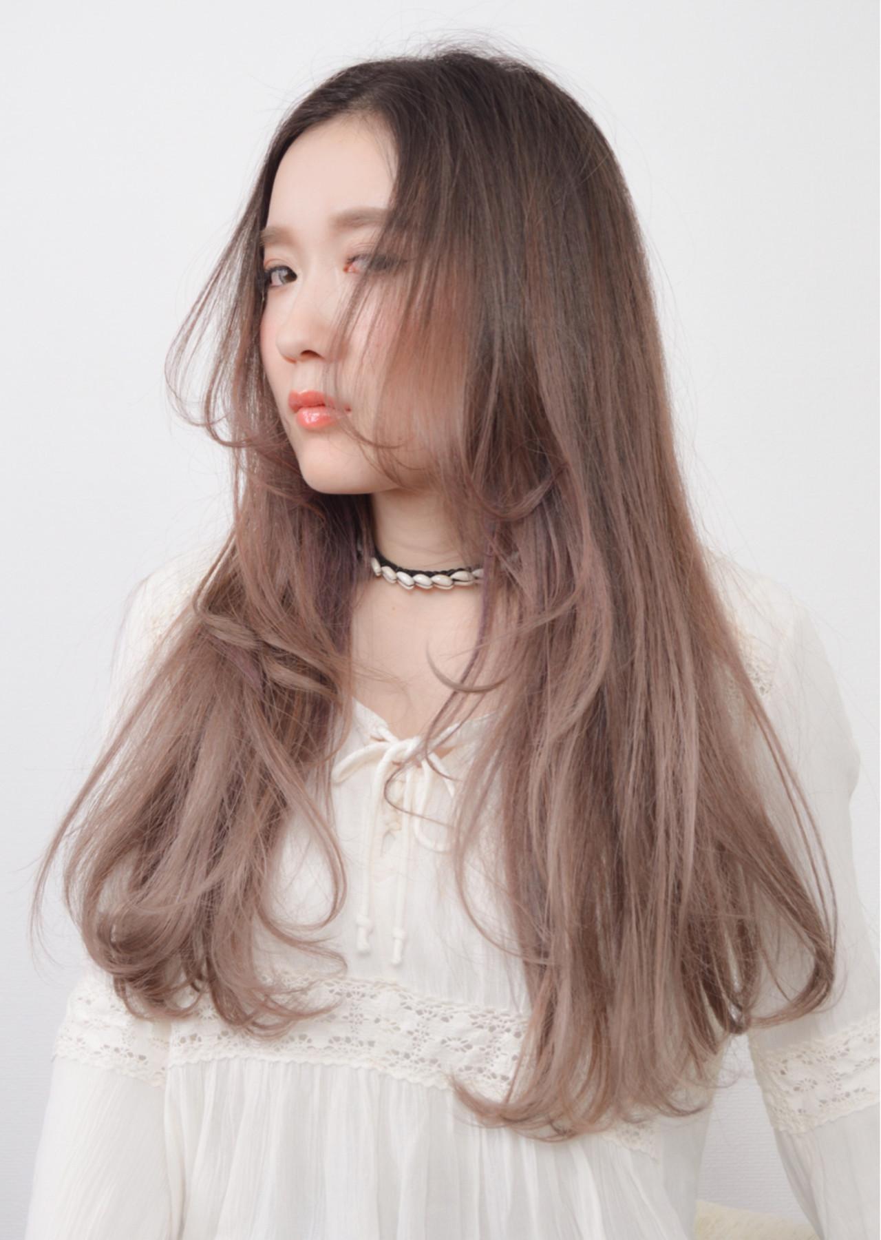 ラベンダー 大人女子 ロング 小顔 ヘアスタイルや髪型の写真・画像