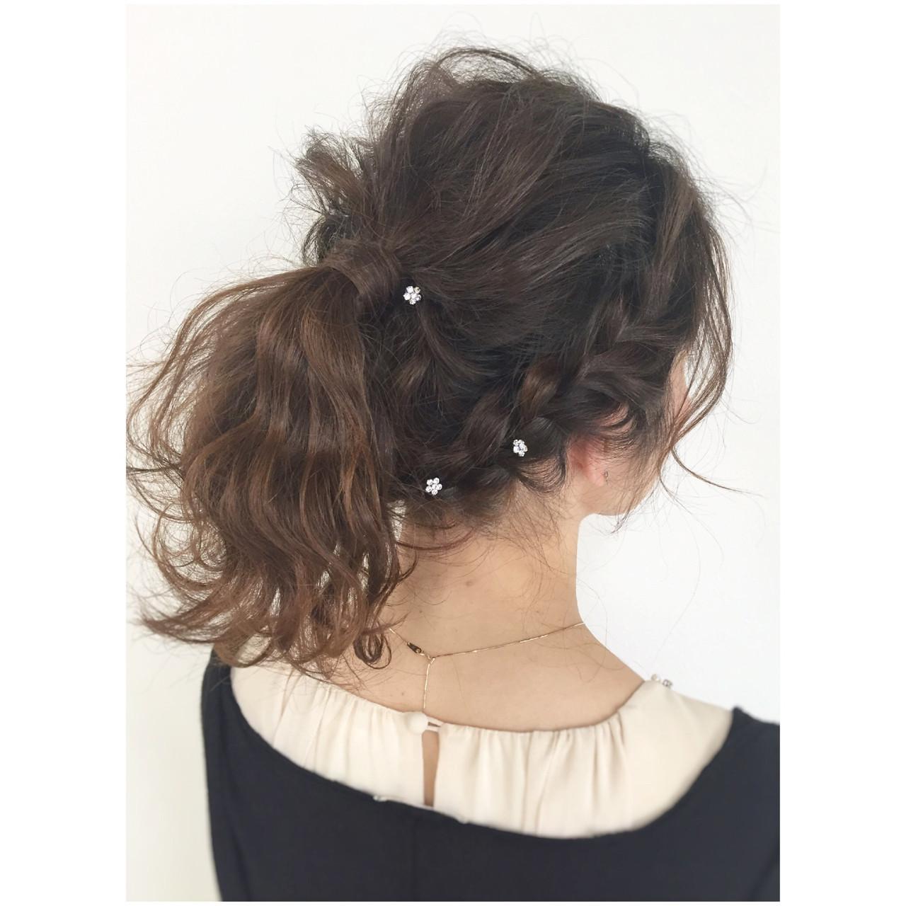 ポニーテール 夏 ヘアアレンジ 編み込み ヘアスタイルや髪型の写真・画像