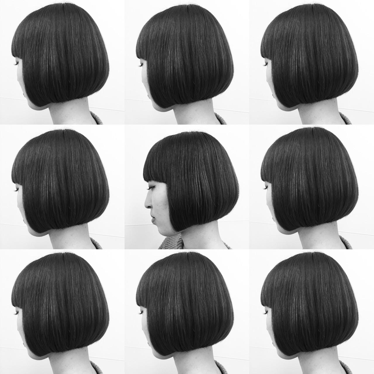 黒髪 モード ボブ 抜け感 ヘアスタイルや髪型の写真・画像