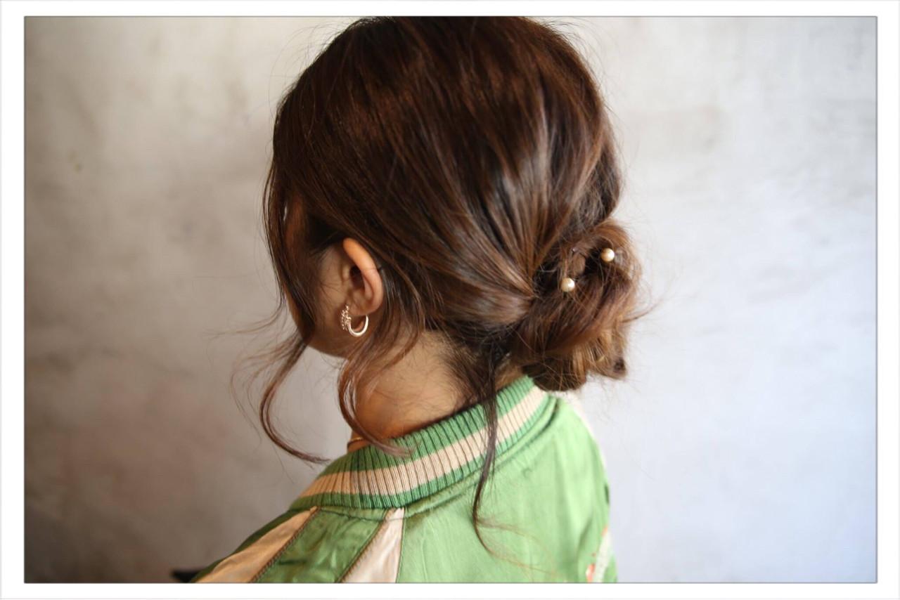 編み込み ヘアアレンジ ロング シニヨン ヘアスタイルや髪型の写真・画像