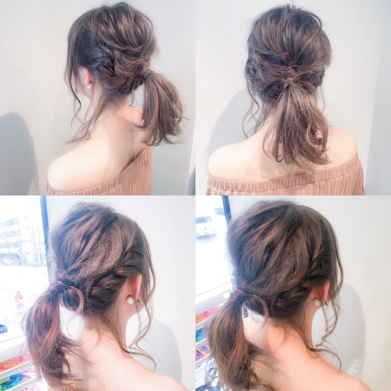 ルーズ セミロング デート ポニーテール ヘアスタイルや髪型の写真・画像