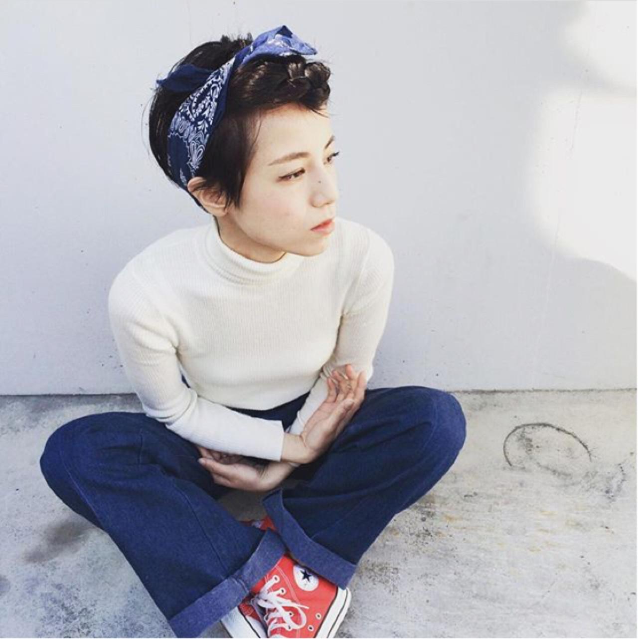 大人かわいい ハーフアップ 黒髪 ショート ヘアスタイルや髪型の写真・画像