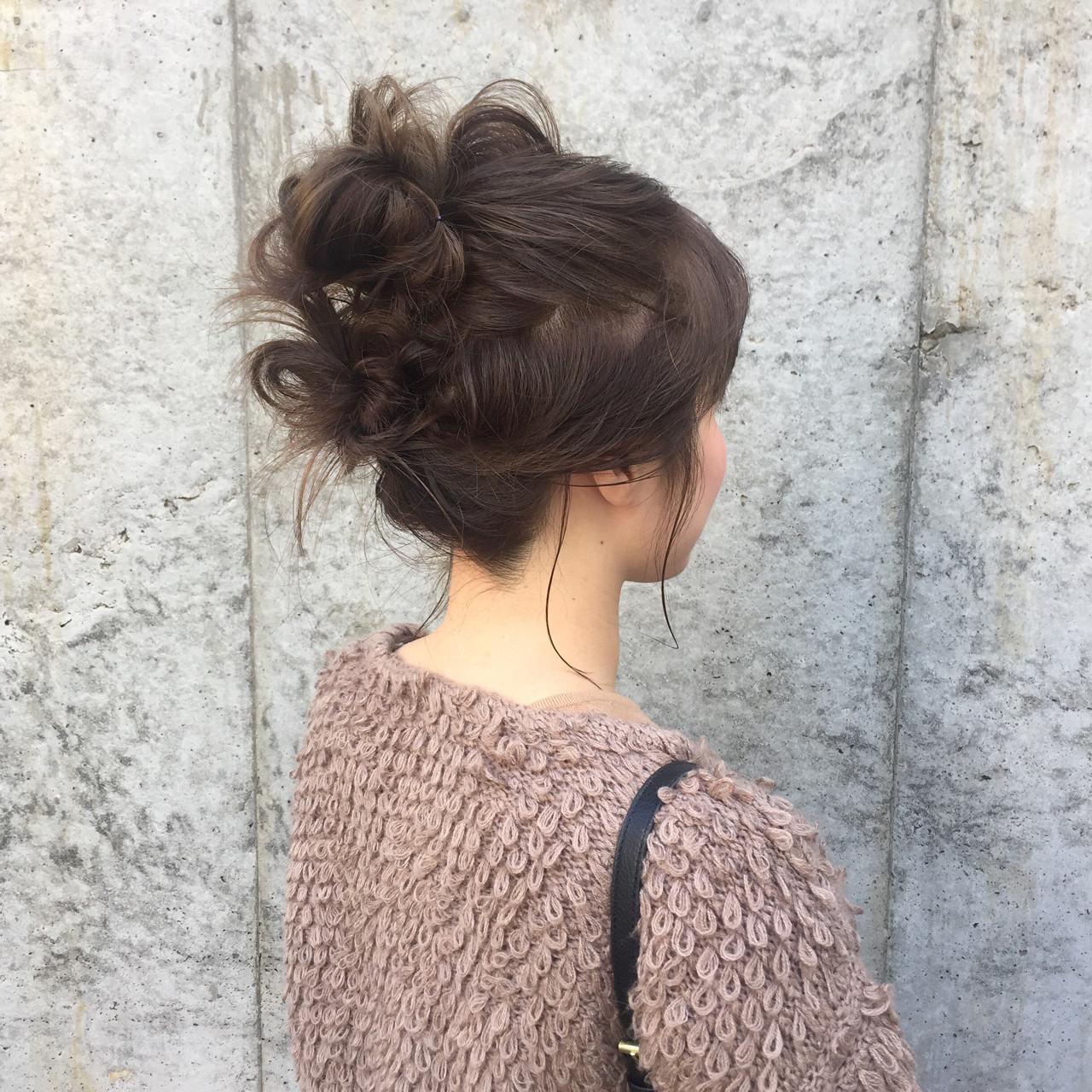 ヘアアレンジ お団子 セミロング ヘアスタイルや髪型の写真・画像