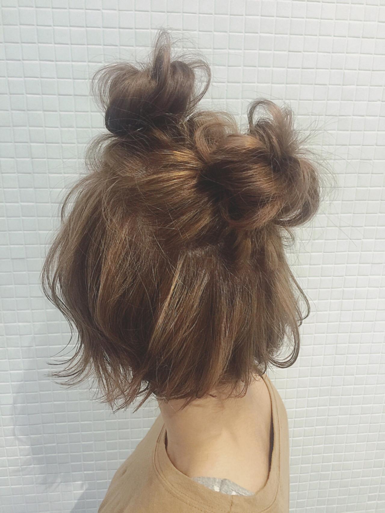 ボブ ショート お団子 簡単ヘアアレンジ ヘアスタイルや髪型の写真・画像