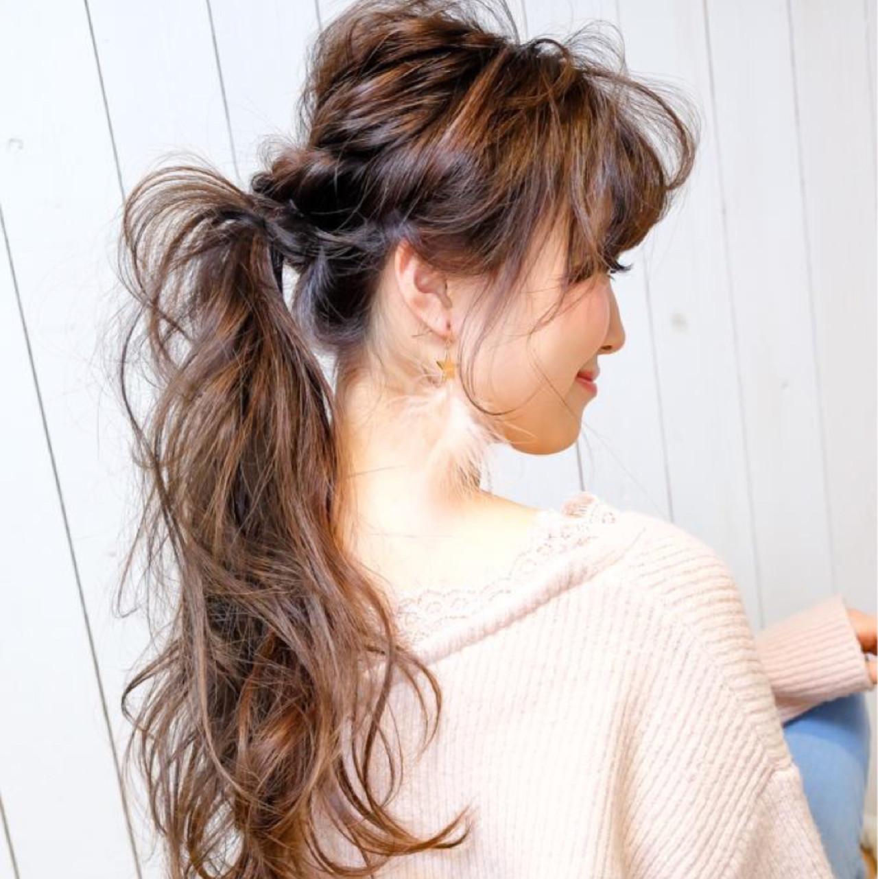 ヘアアレンジ ロング パーマ フェミニン ヘアスタイルや髪型の写真・画像