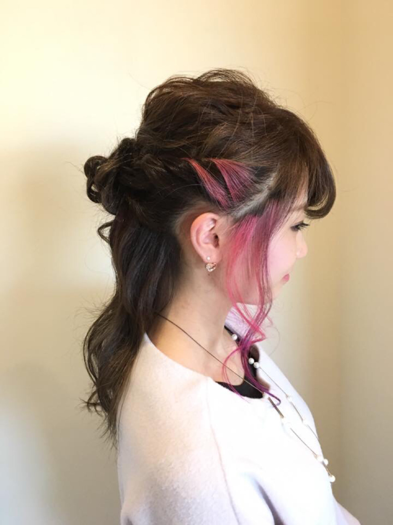 インナーカラー モテ髪 ピンク フェミニン ヘアスタイルや髪型の写真・画像