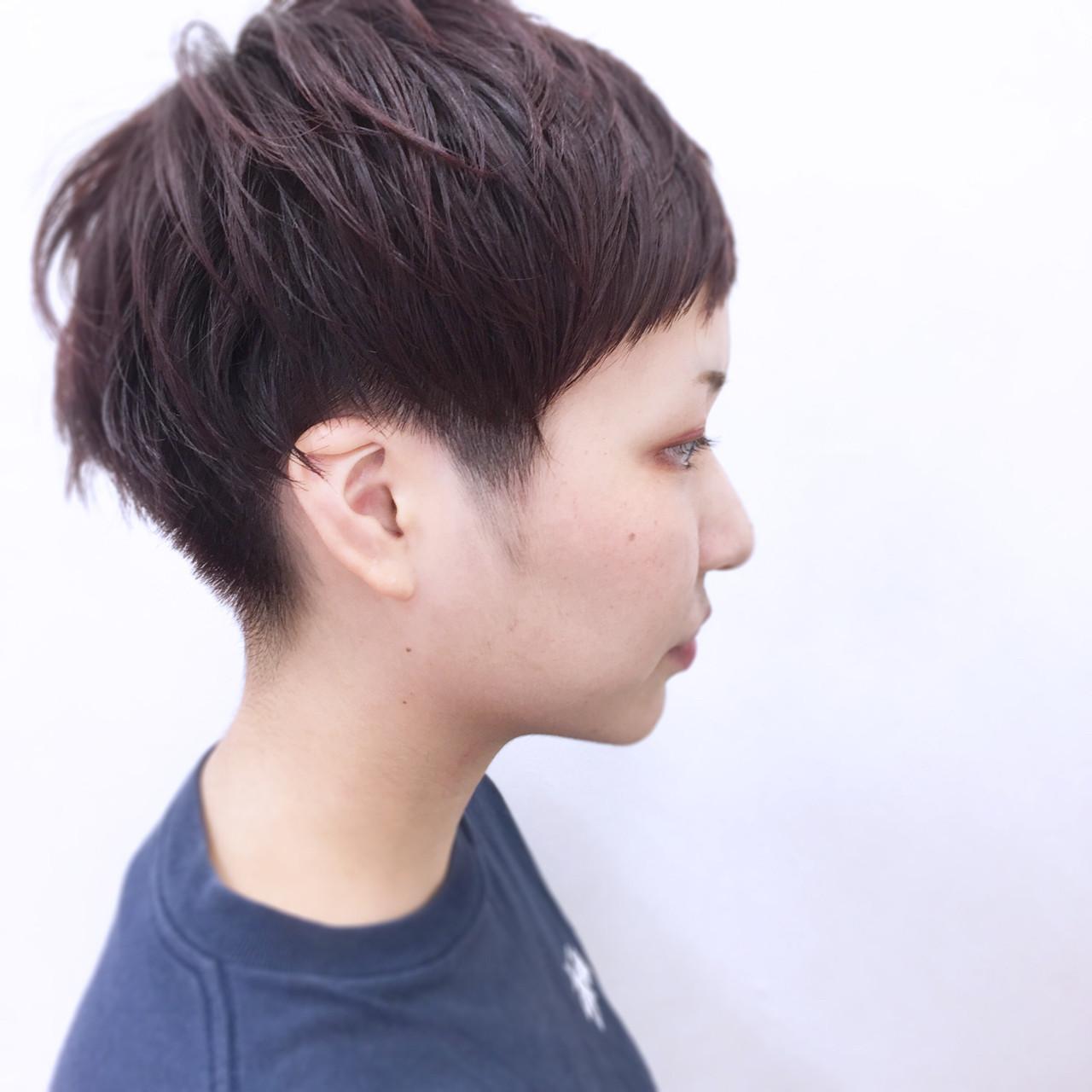 レッド 前髪あり ショート 大人かわいい ヘアスタイルや髪型の写真・画像