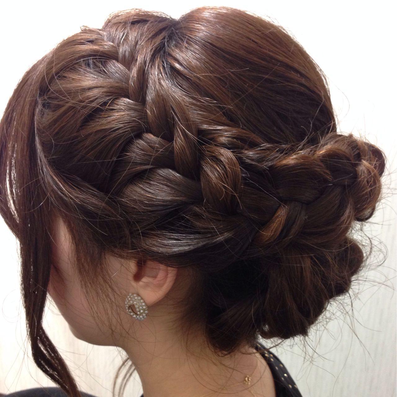 ヘアアレンジ アップスタイル 編み込み ショート ヘアスタイルや髪型の写真・画像